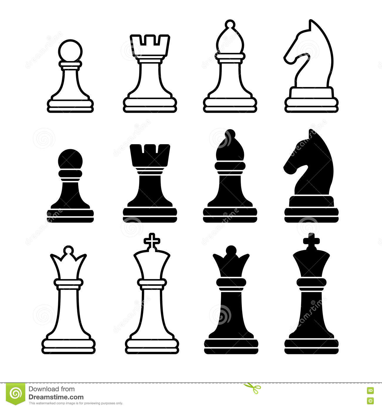Stock Illustration Chess Pieces Including King Queen Rook Pawn Knight Bishop Vector Illustration Icons Set Image42855078 on chess vector graphics