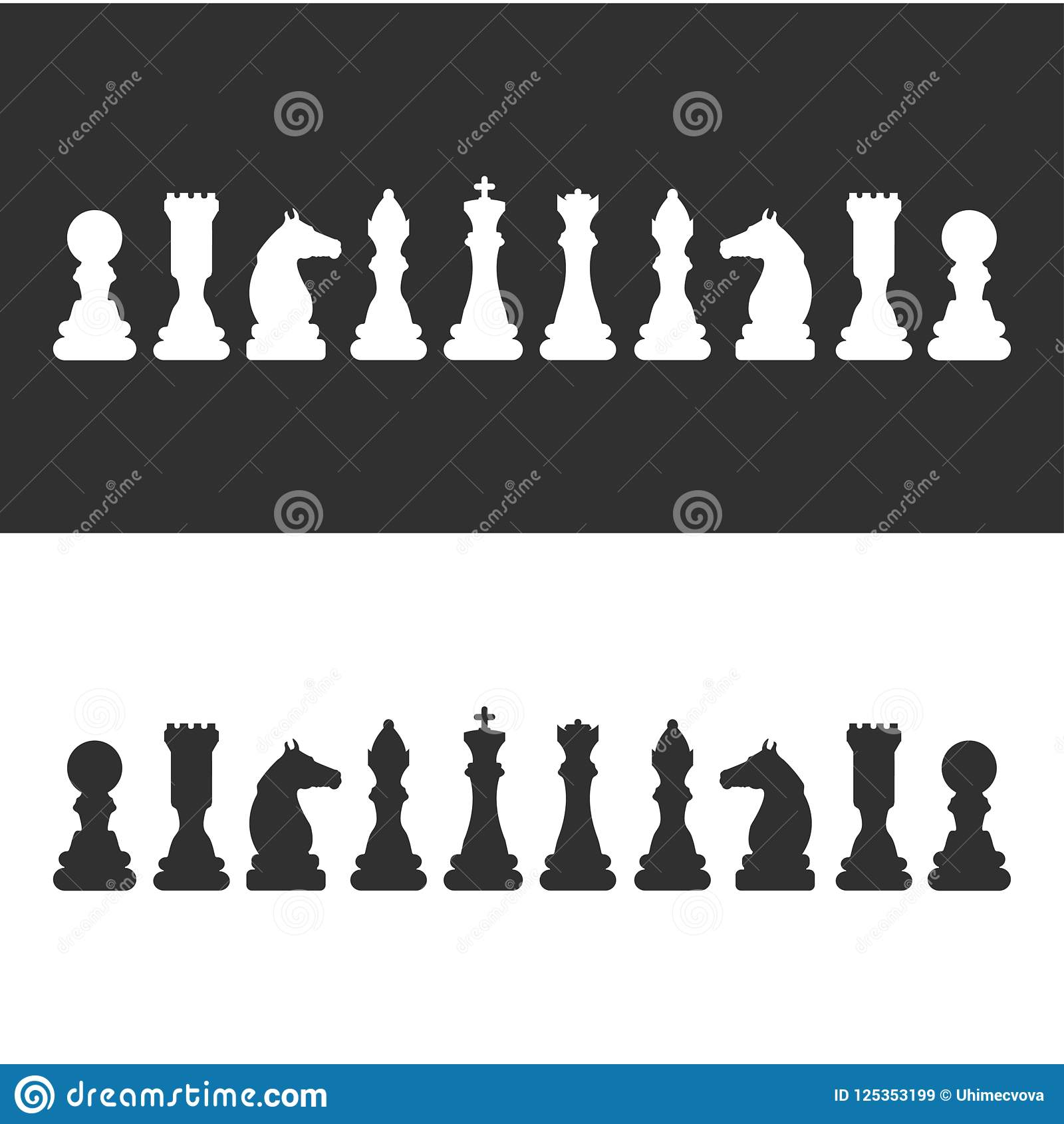 Chess pieces set of chess pieces. No meshes used.