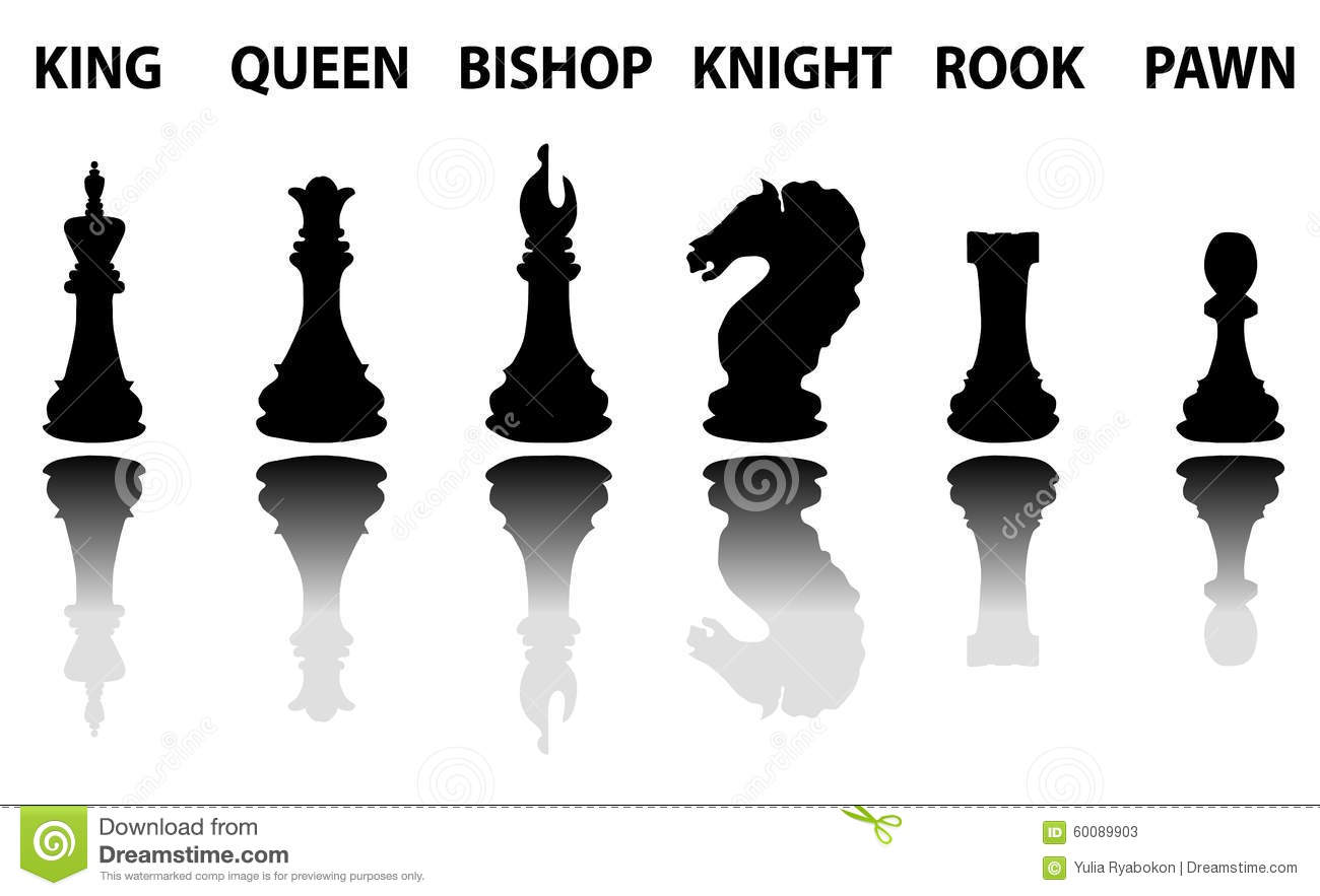 Chess Pieces Silhouette Set Stock Vector Image 60089903