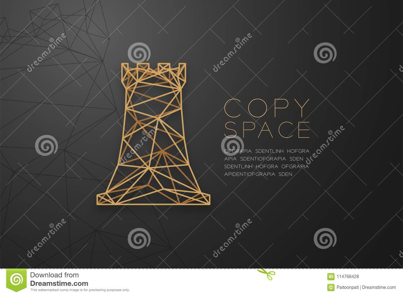 Chess Rook wireframe Polygon golden frame structure, Business strategy concept design illustration