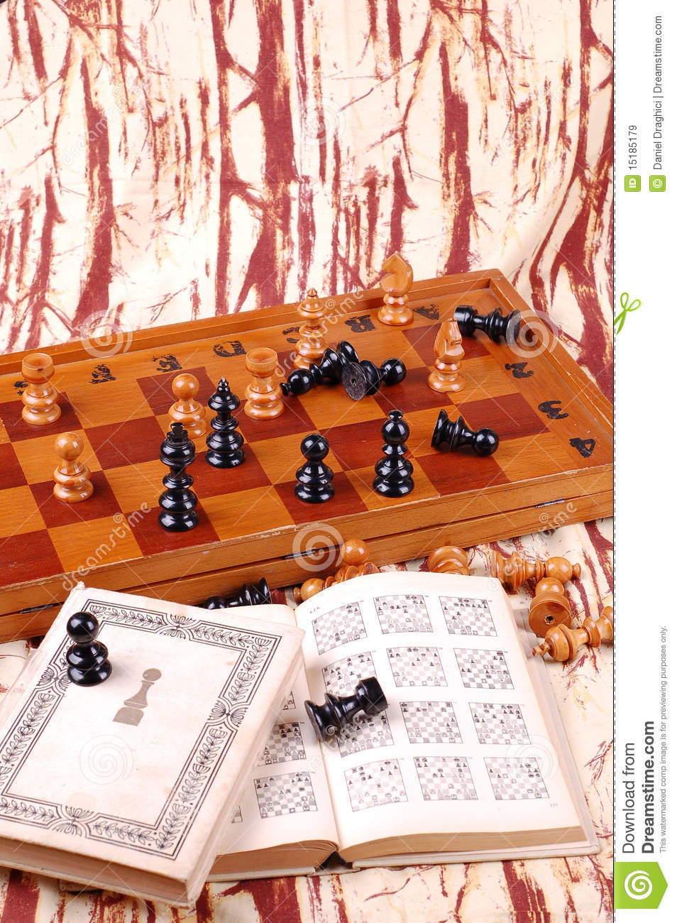 Chess Table And Chess Book Stock Image Image Of Decor 15185179