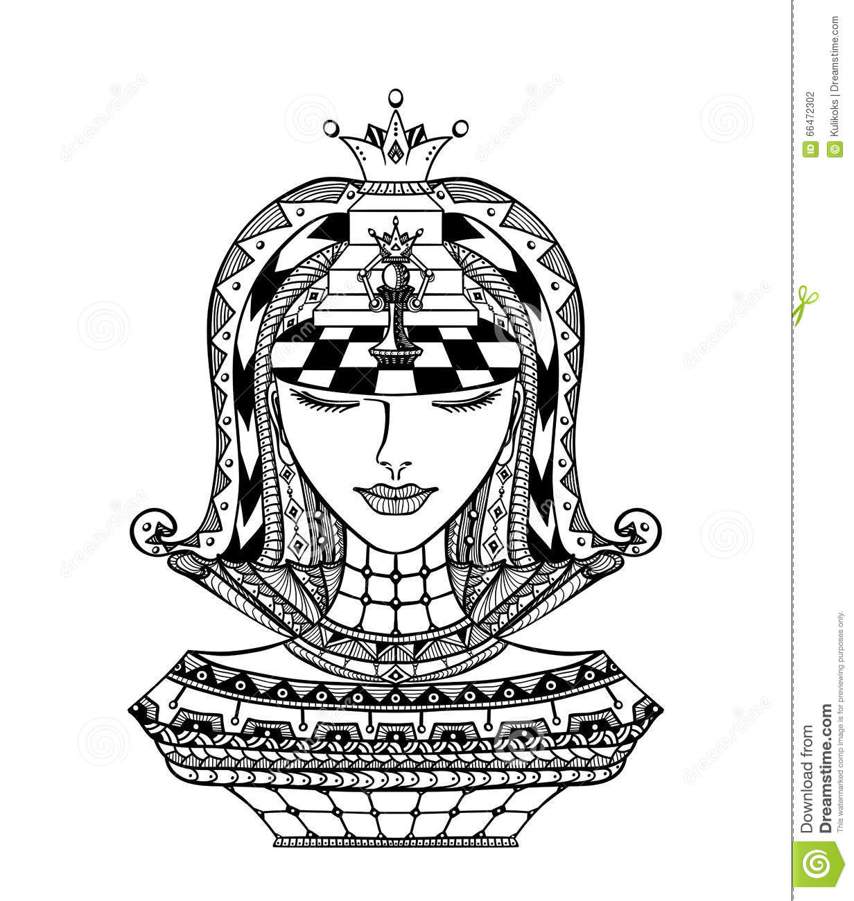 Chess Zentangle Girl Black On White Stock Vector - Illustration of ...
