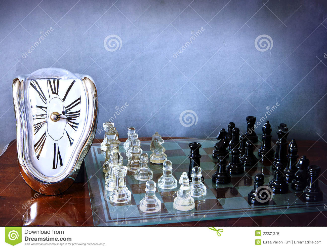 Chessboard Game And Dali like Clock Royalty Free Stock