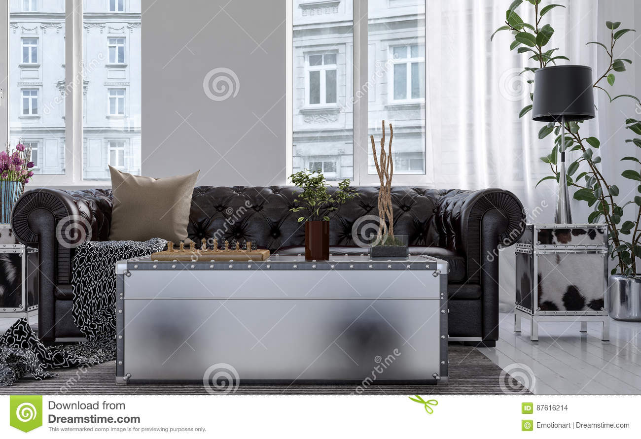 Cool Chest Style Coffee Table In Front Of Chesterfield Stock Creativecarmelina Interior Chair Design Creativecarmelinacom