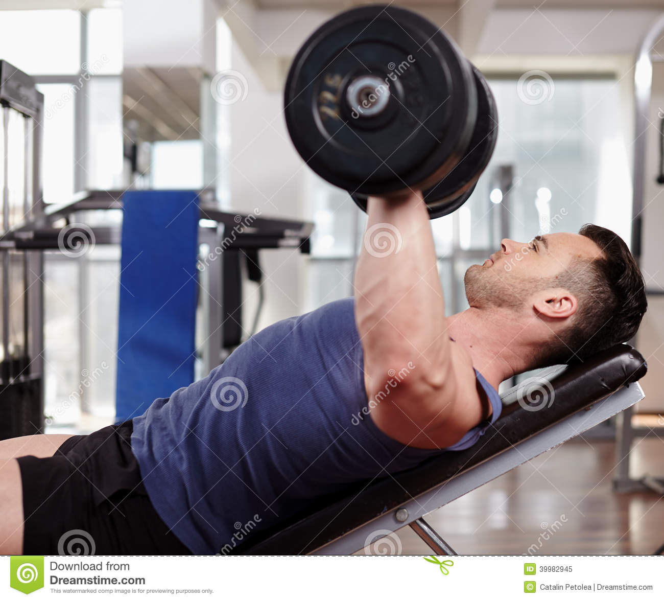 Chest Workout On Bench Press Stock Image - Image of