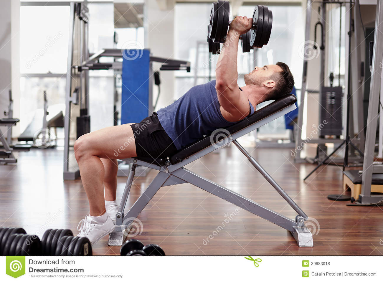 Chest Workout On Bench Press Stock Photo - Image of leisure