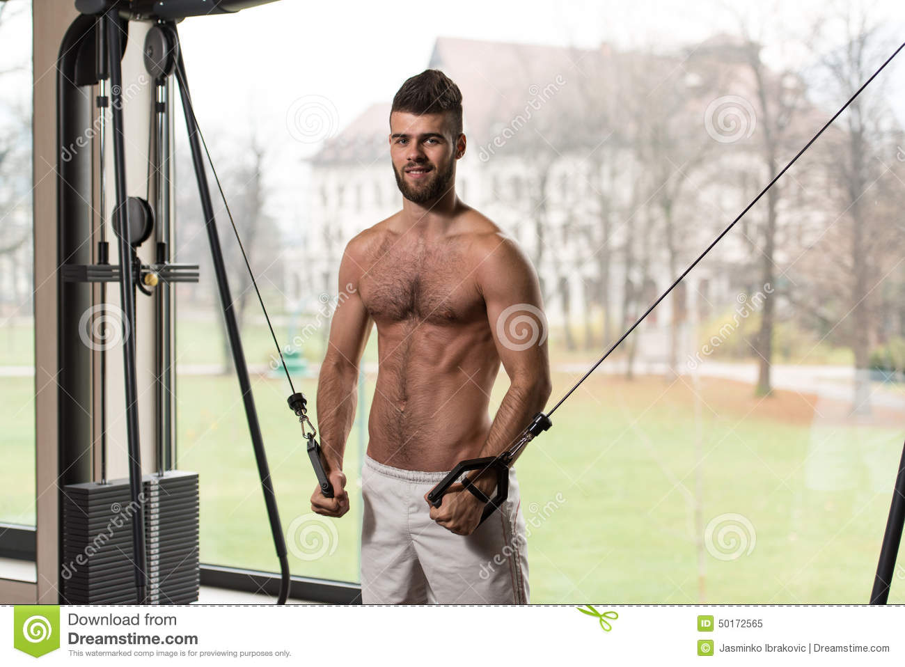 Chest Workout With Cables Stock Photo - Image: 50172565