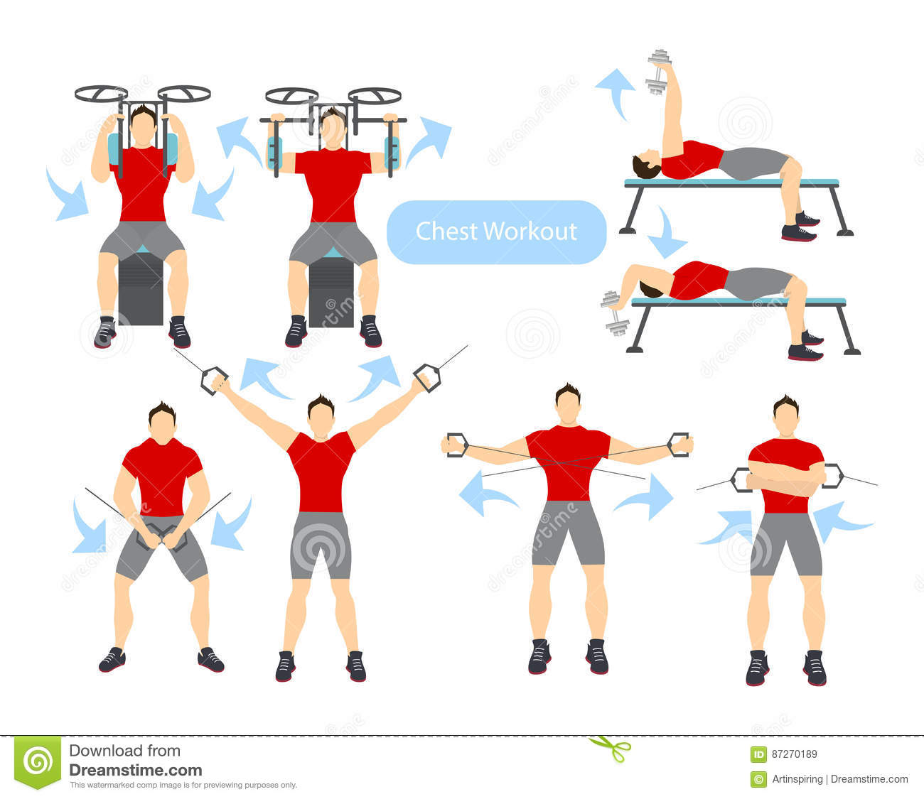 Download Chest Workout Set Stock Vector Illustration Of Muscle