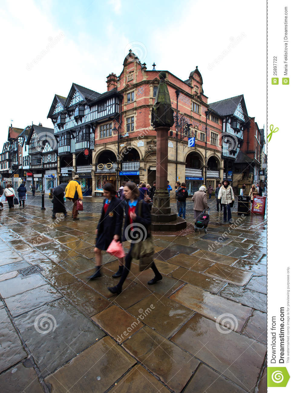 Chester city center in busy midday