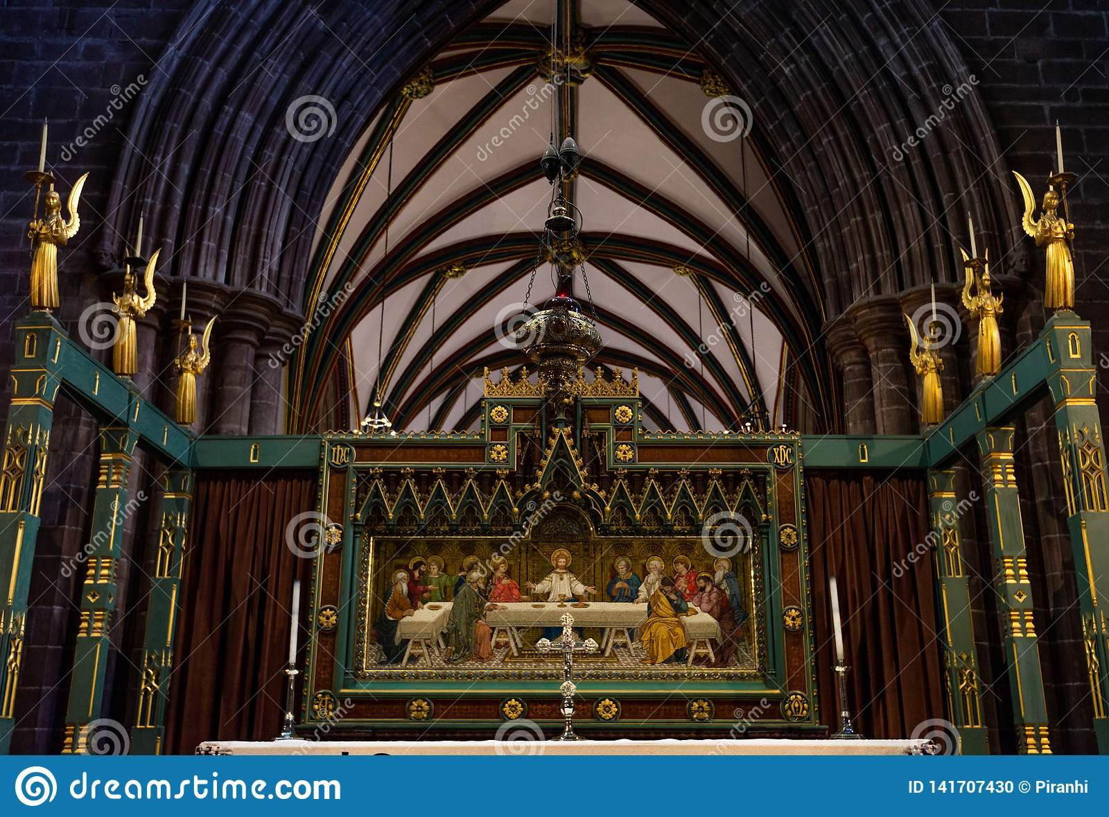 CHESTER, UK - 8TH MARCH 2019: A picture of Jesus hangs in Chester Cathedral