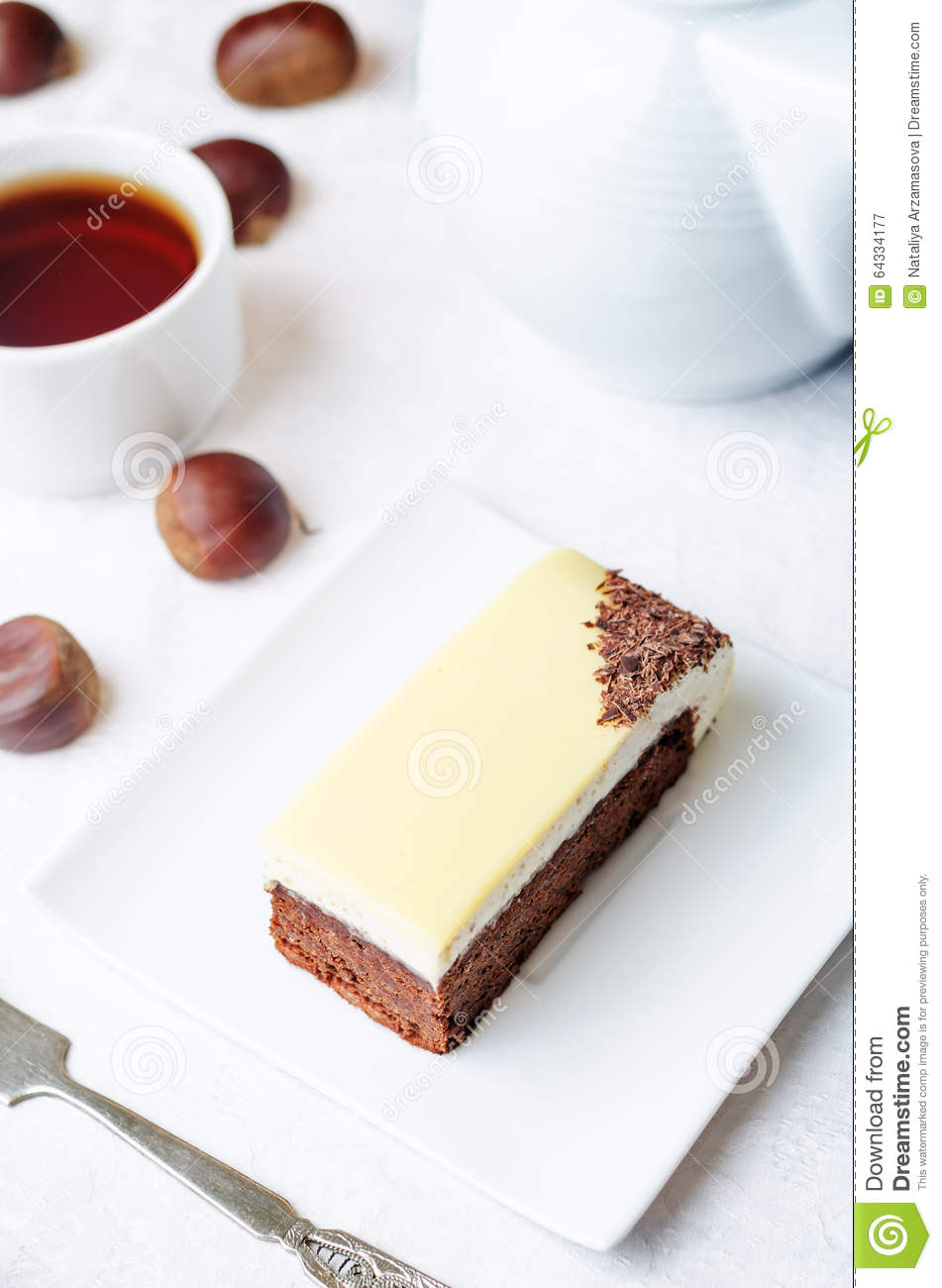 Chestnut Brownie Cake With Chestnut White Chocolate Mousse Stock ...