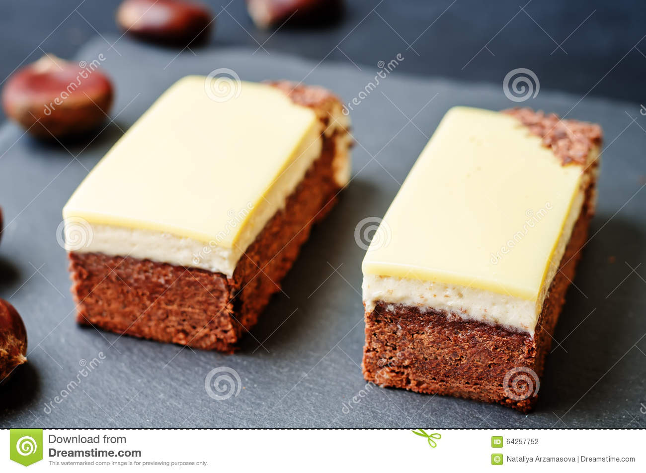Chestnut brownie cake with chestnut white chocolate mousse