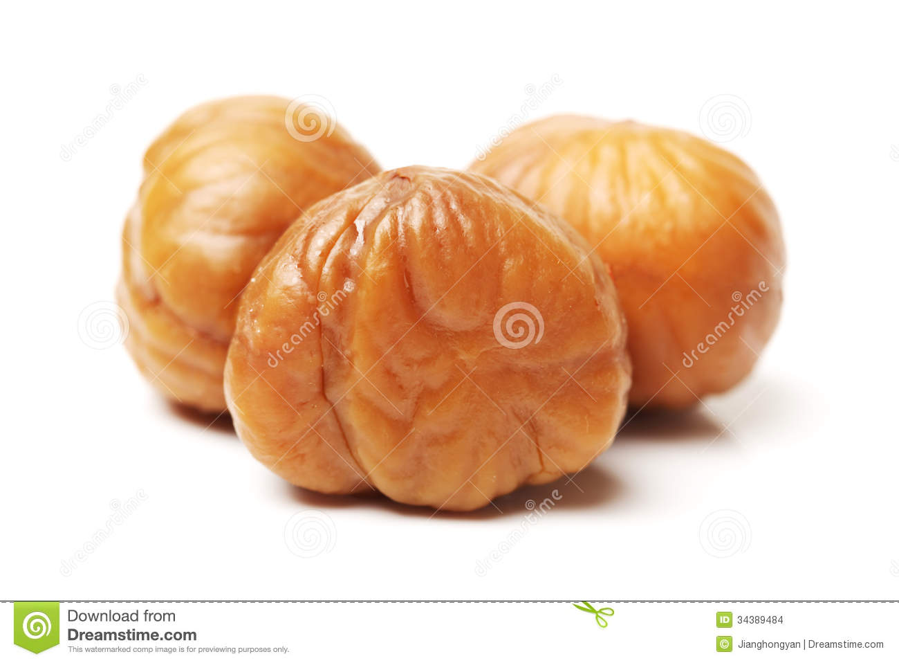 Chinese food, peeled roasted chestnut on white background.