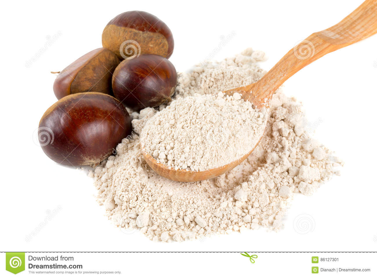 Chestnut flour in a wooden spoon isolated on white
