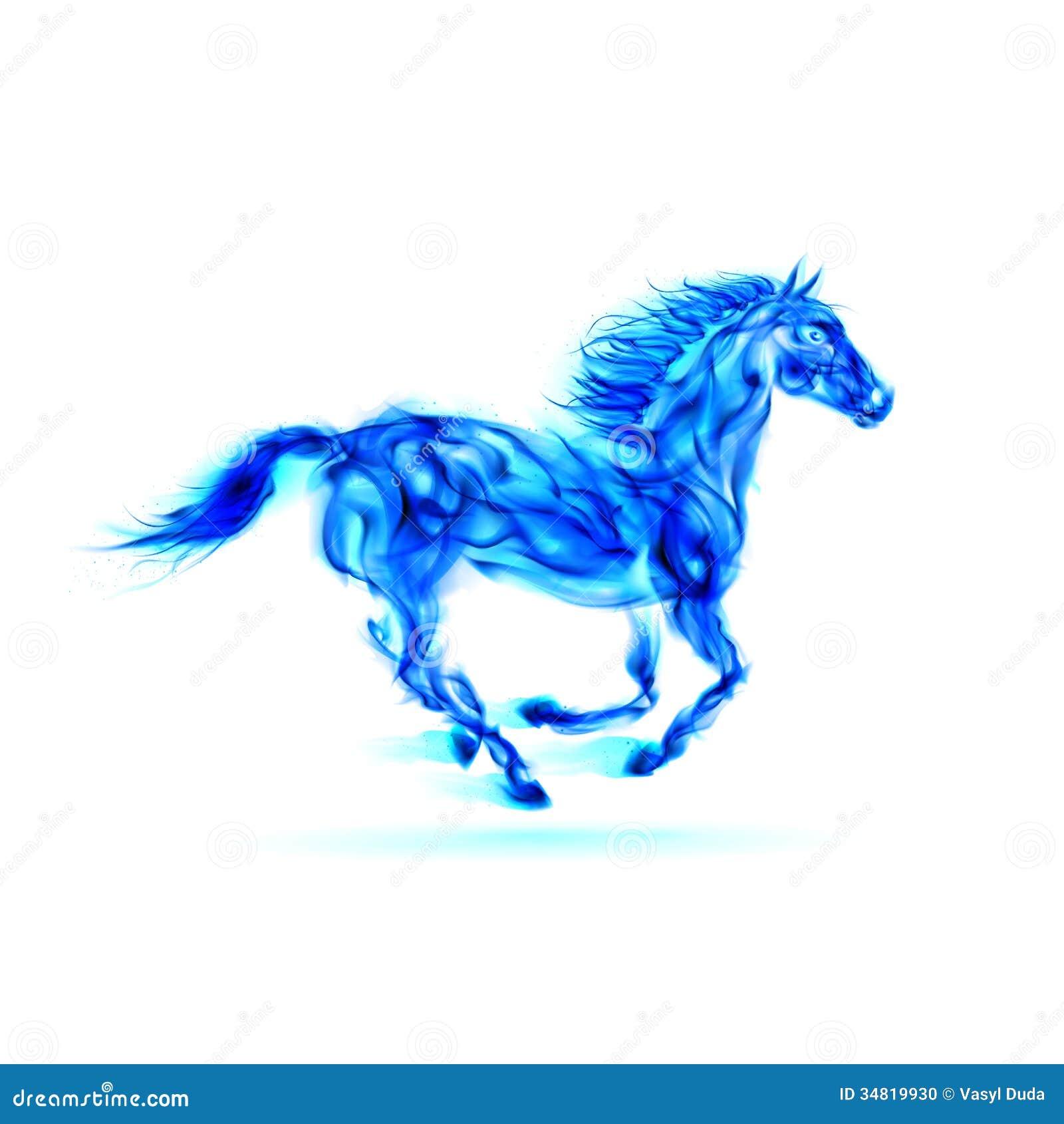 Cheval bleu courant du feu.