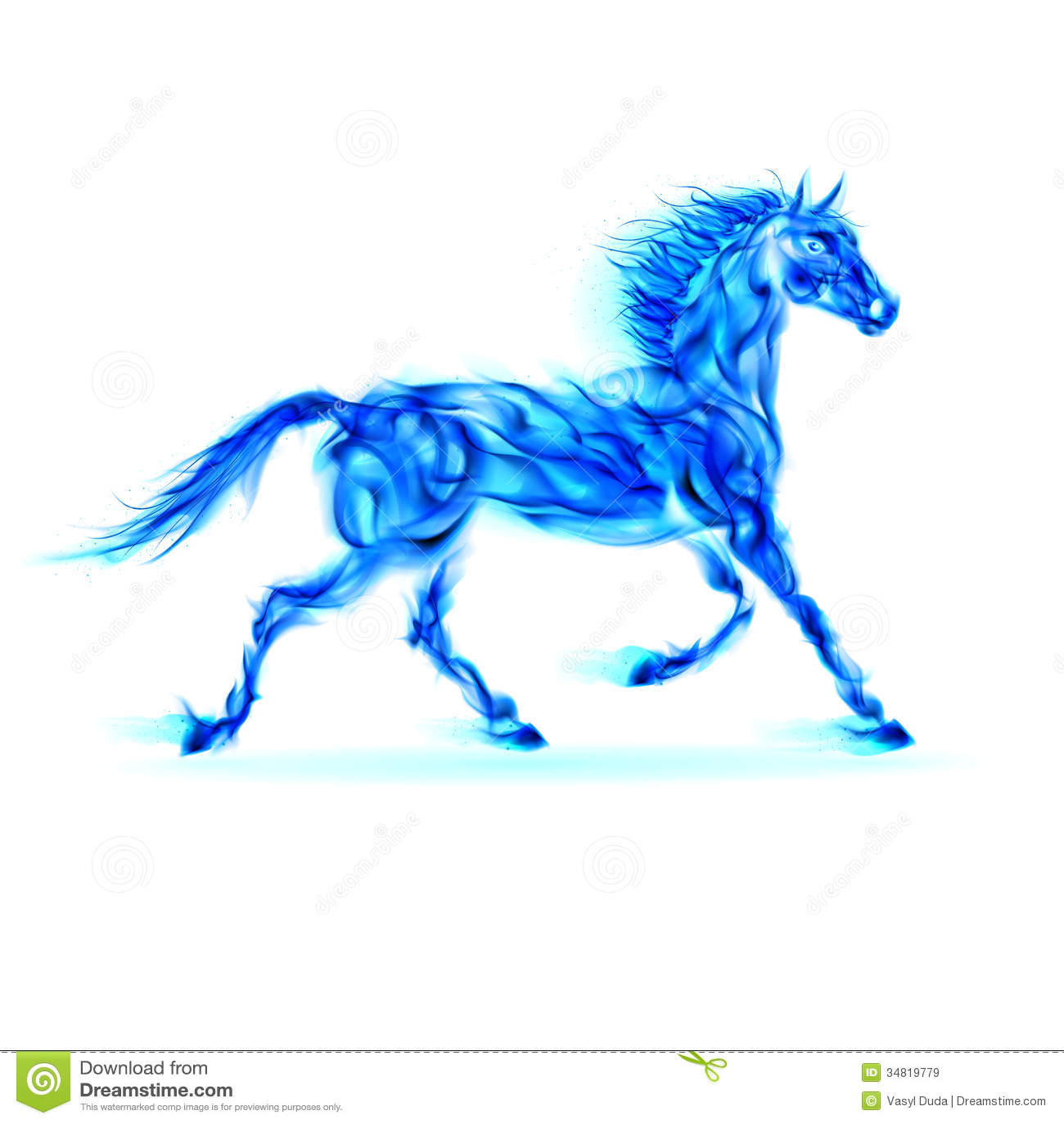 Cheval bleu du feu.