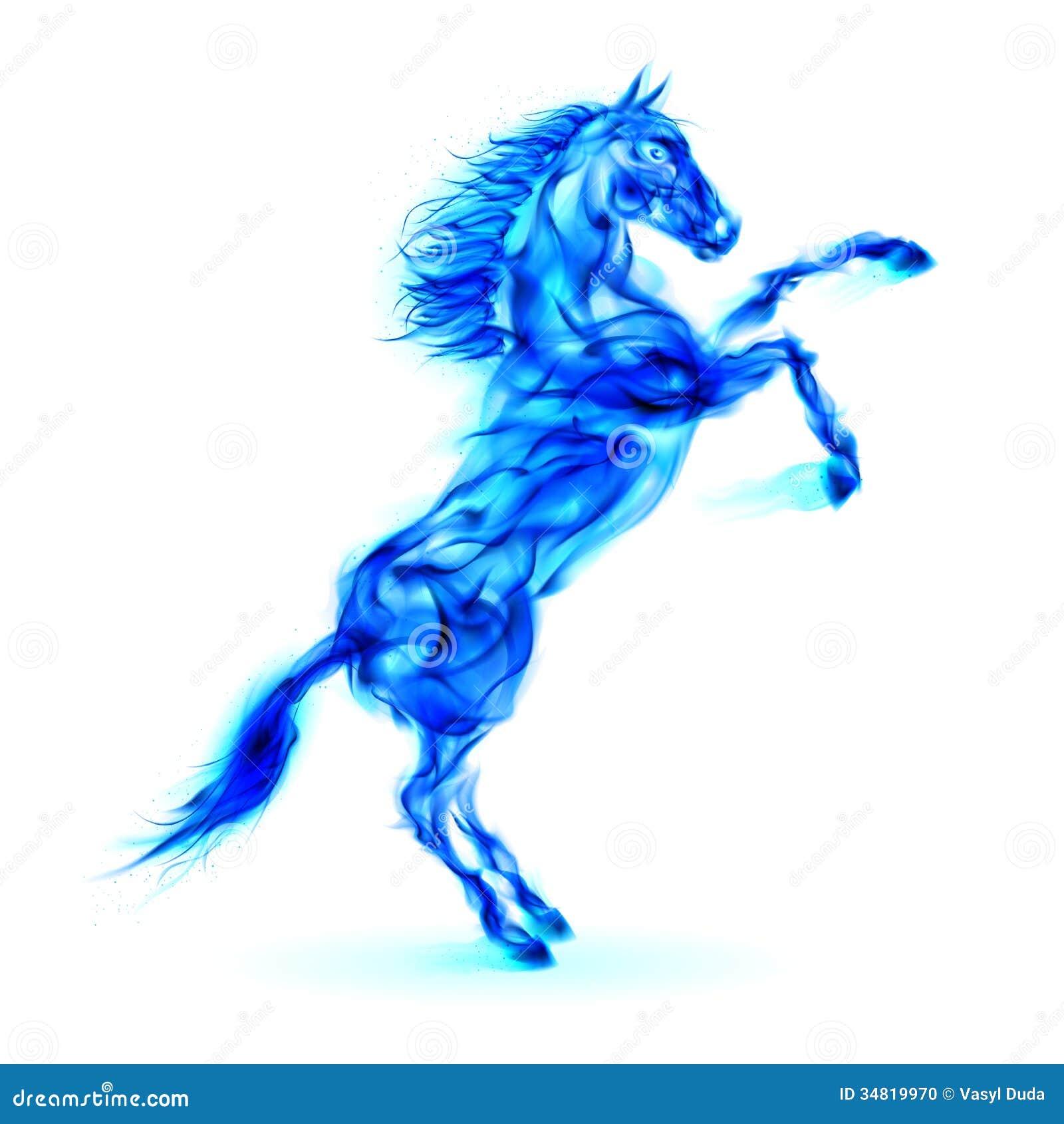 Cheval bleu du feu s élevant.
