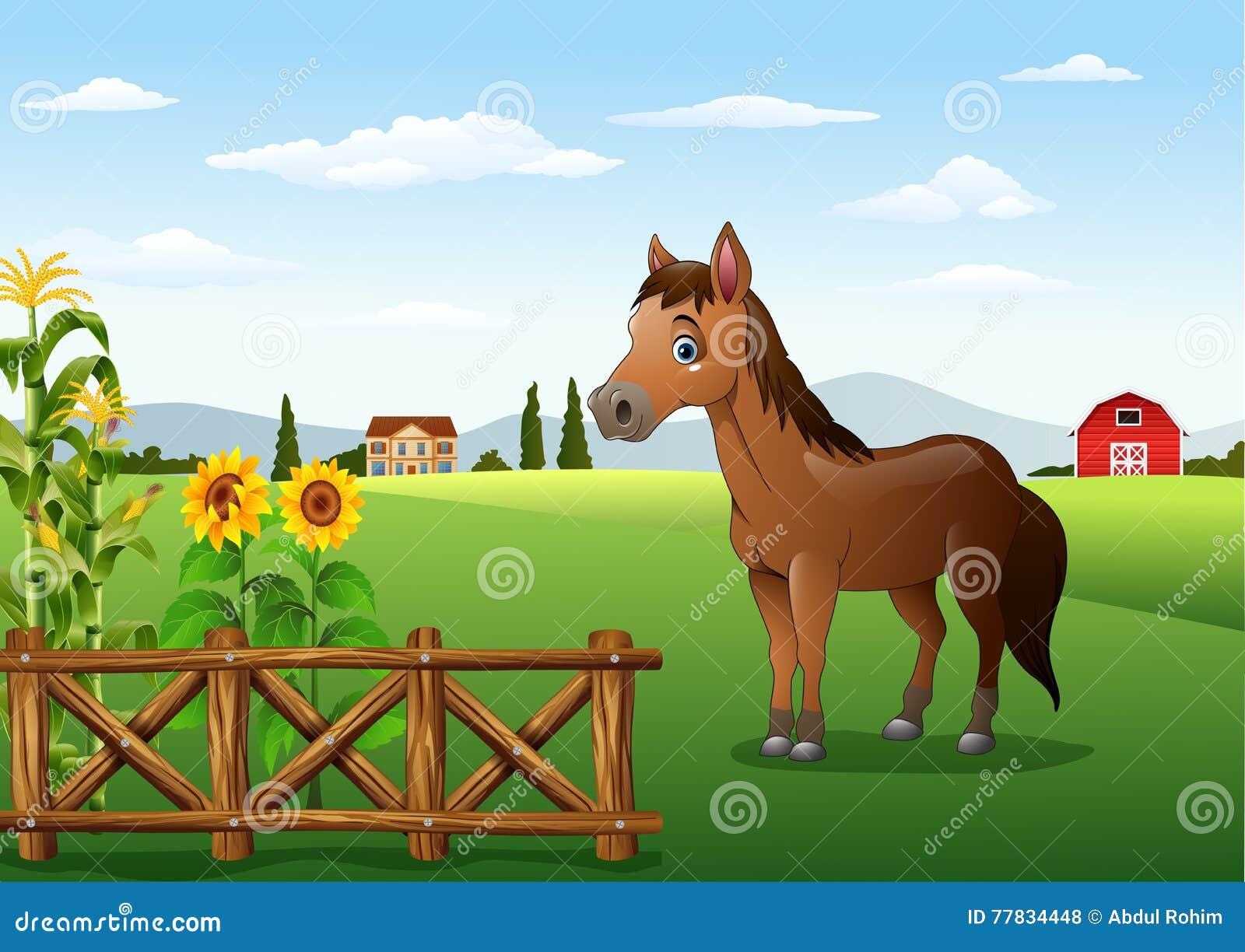 Cheval brun de bande dessinée dans la ferme