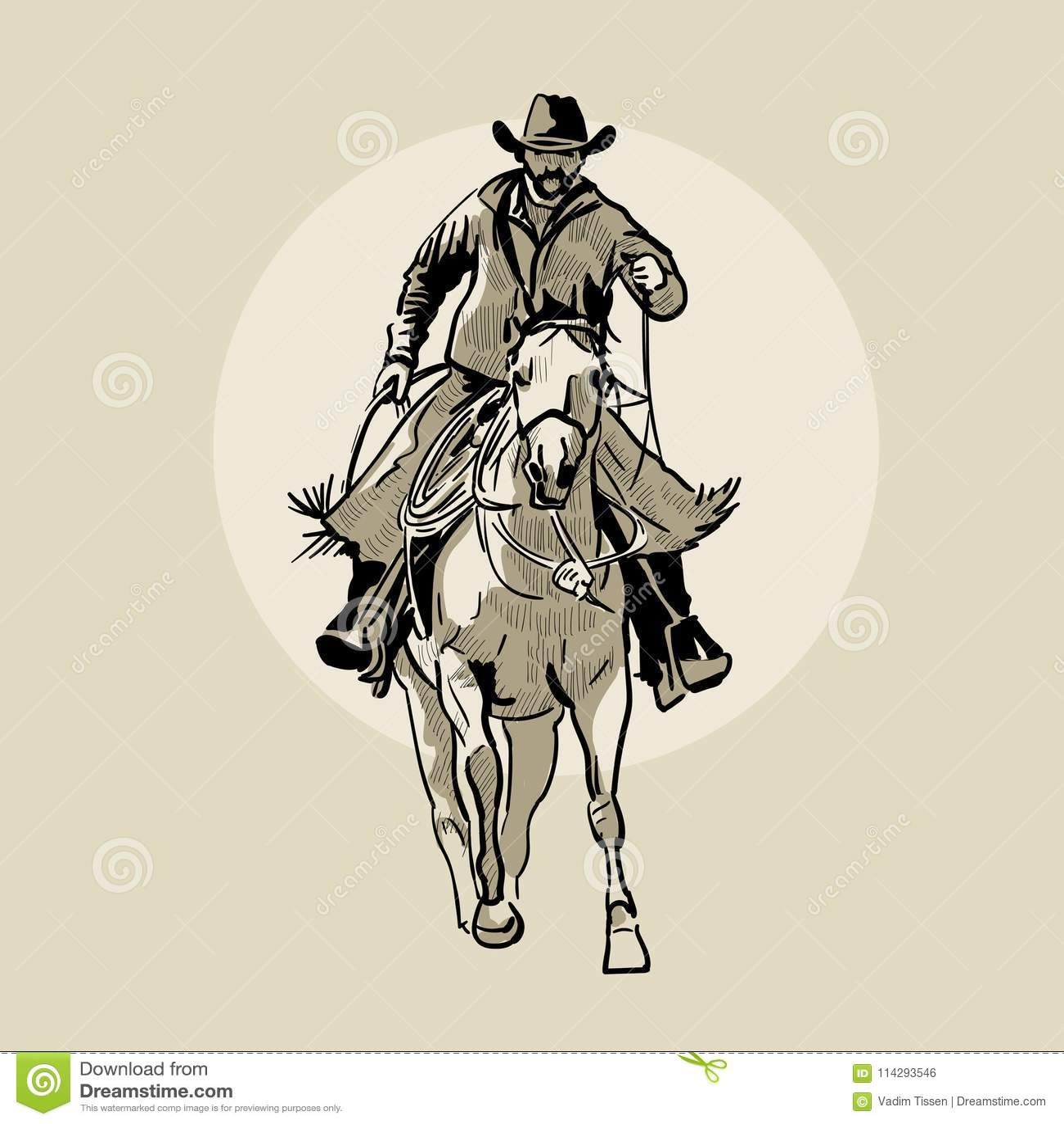 Cheval d équitation américain de cowboy Illustration tirée par la main Croquis de main Illustration