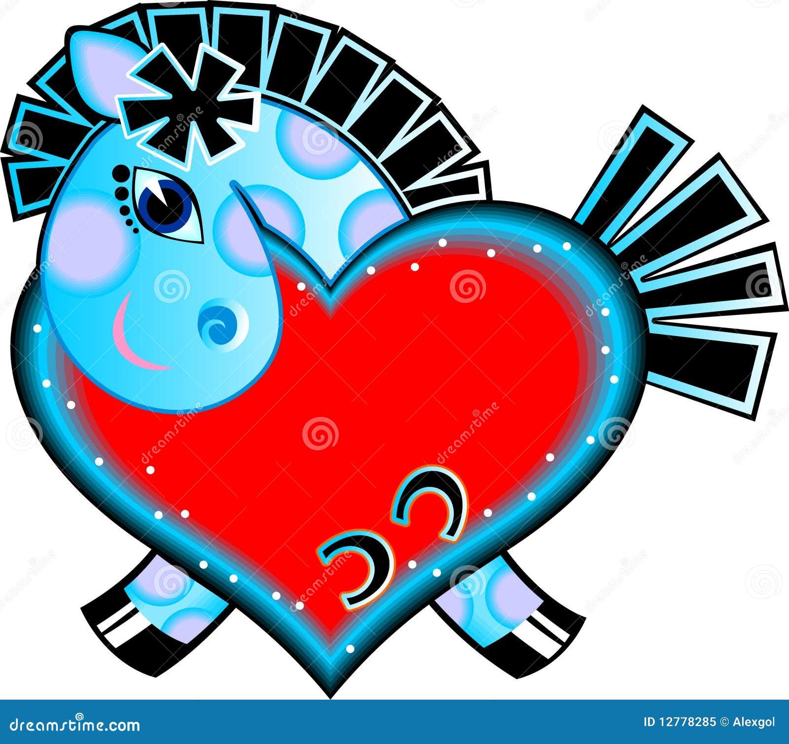 Cheval de dessin anim avec le coeur d 39 amour photo libre - Desin d amour ...