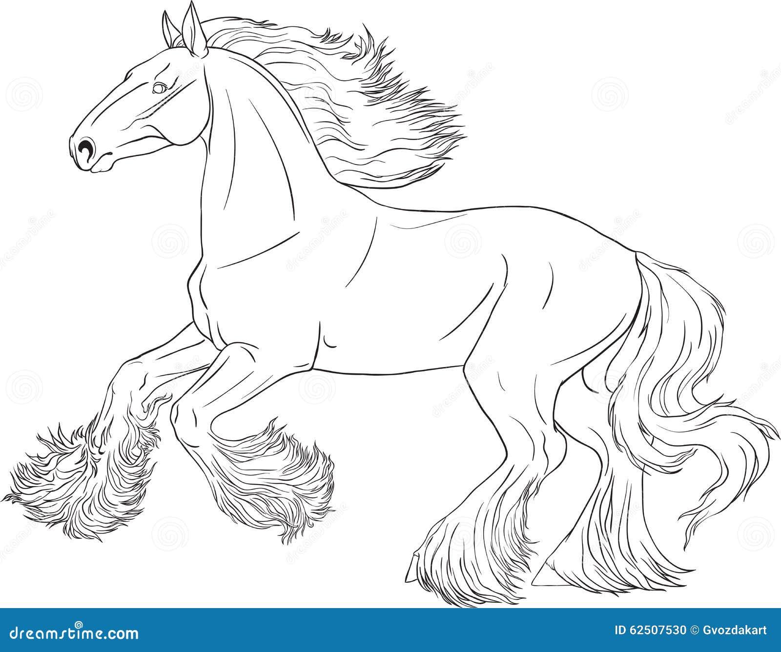 cheval de livre de coloriage illustration de vecteur