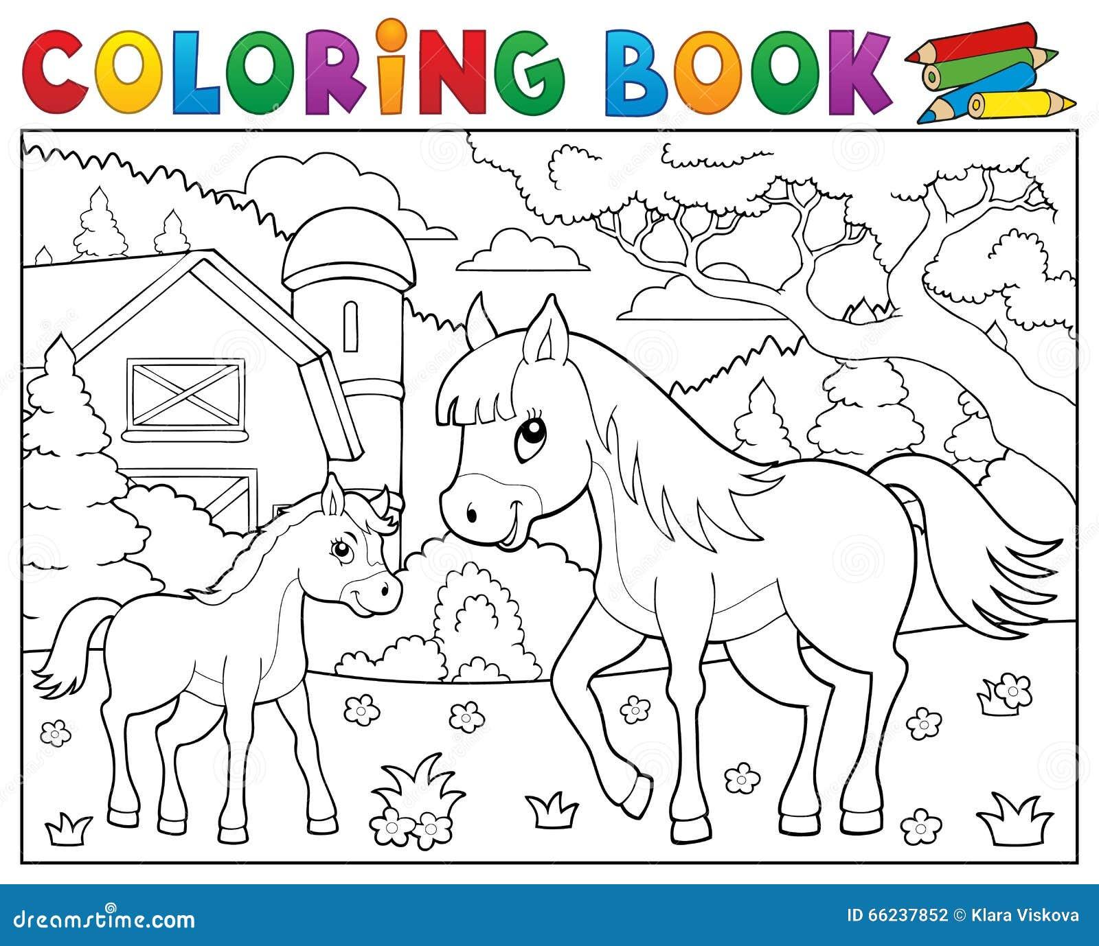 Cheval De Livre De Coloriage Avec Le Thème 1 De Poulain Illustration ...