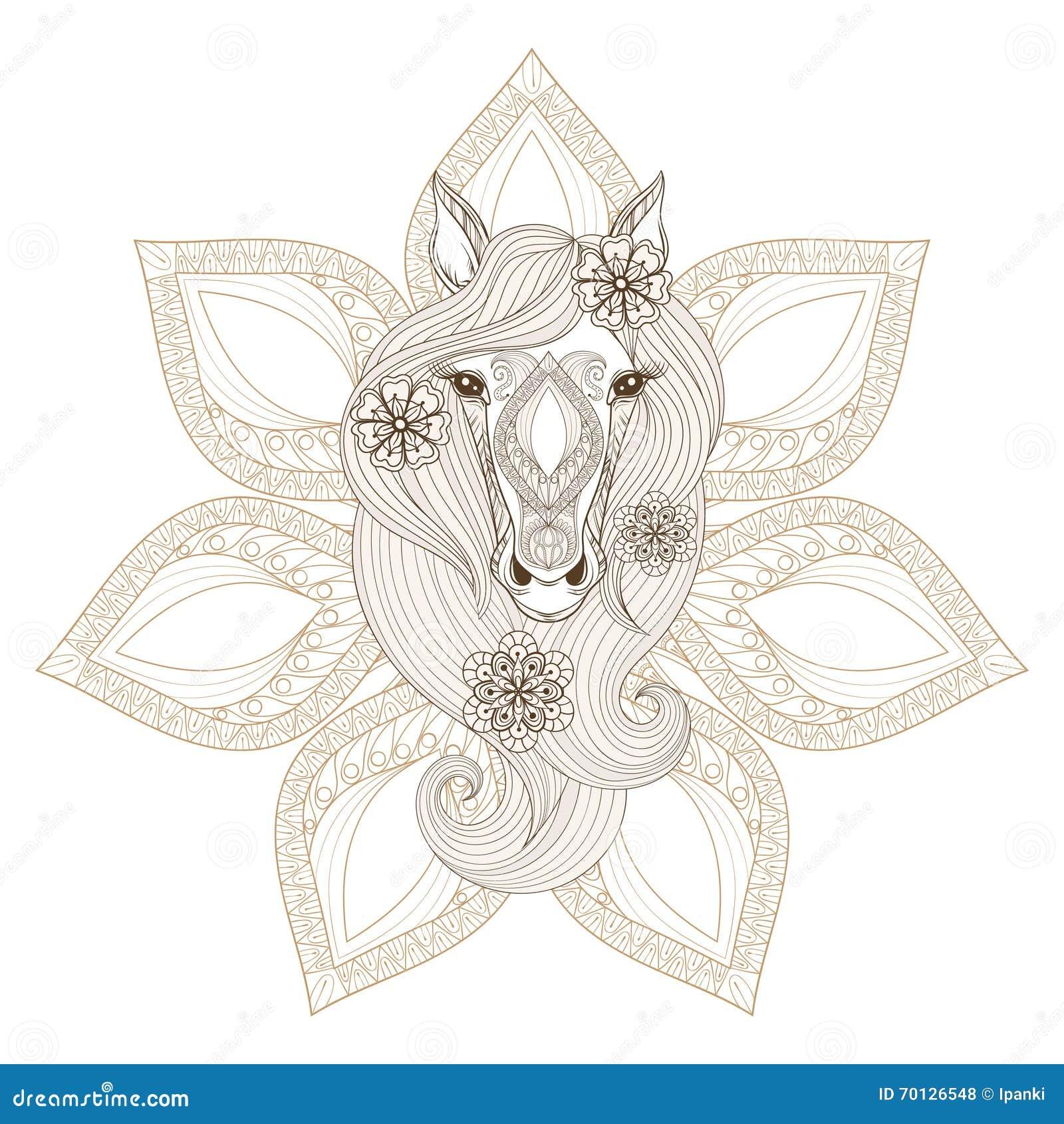 Cheval de vecteur page de coloration avec le visage de cheval sur le backgroun de mandala - Mandala cheval ...