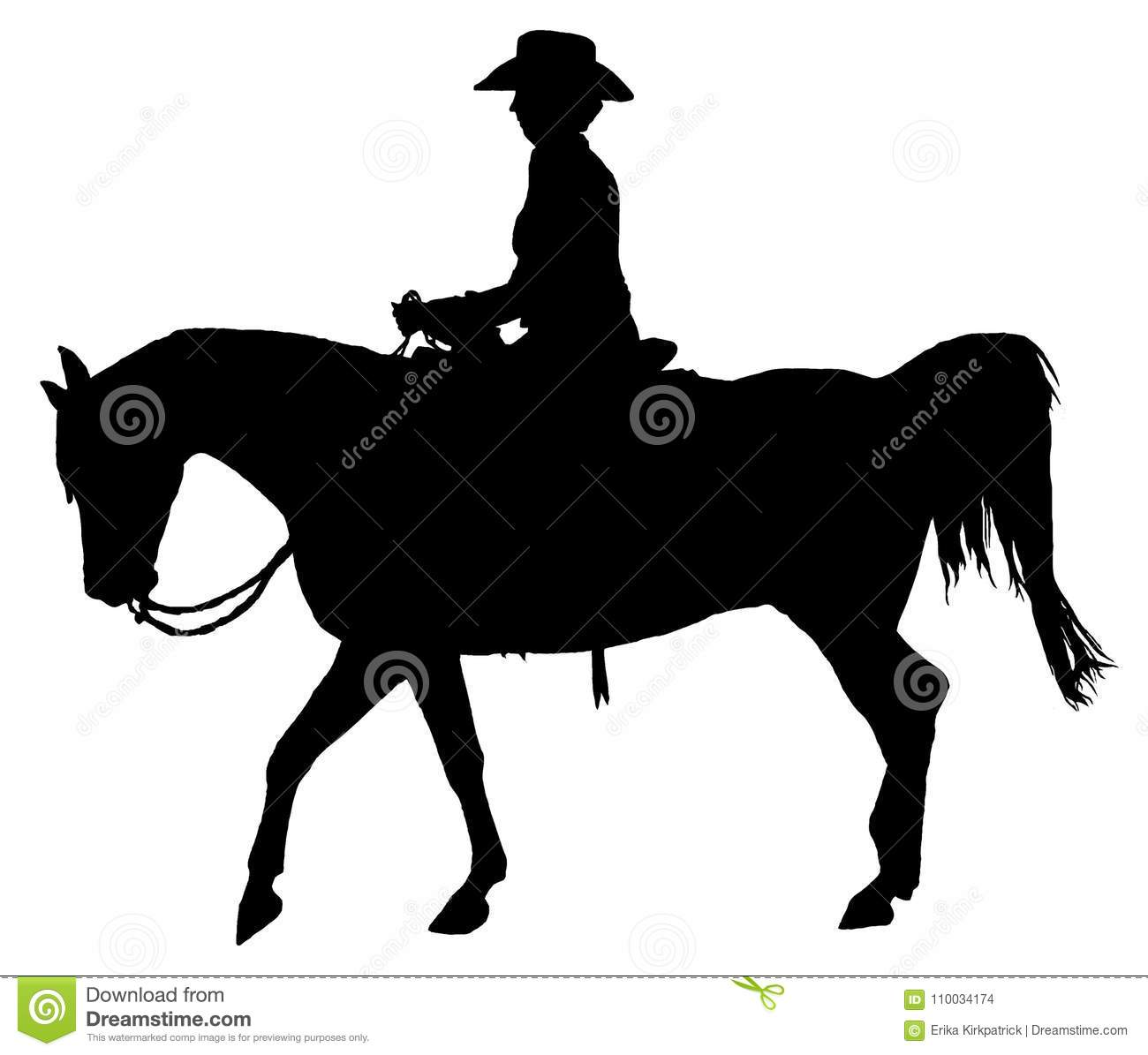 Cheval et Rider Silhouette Isolated occidentaux