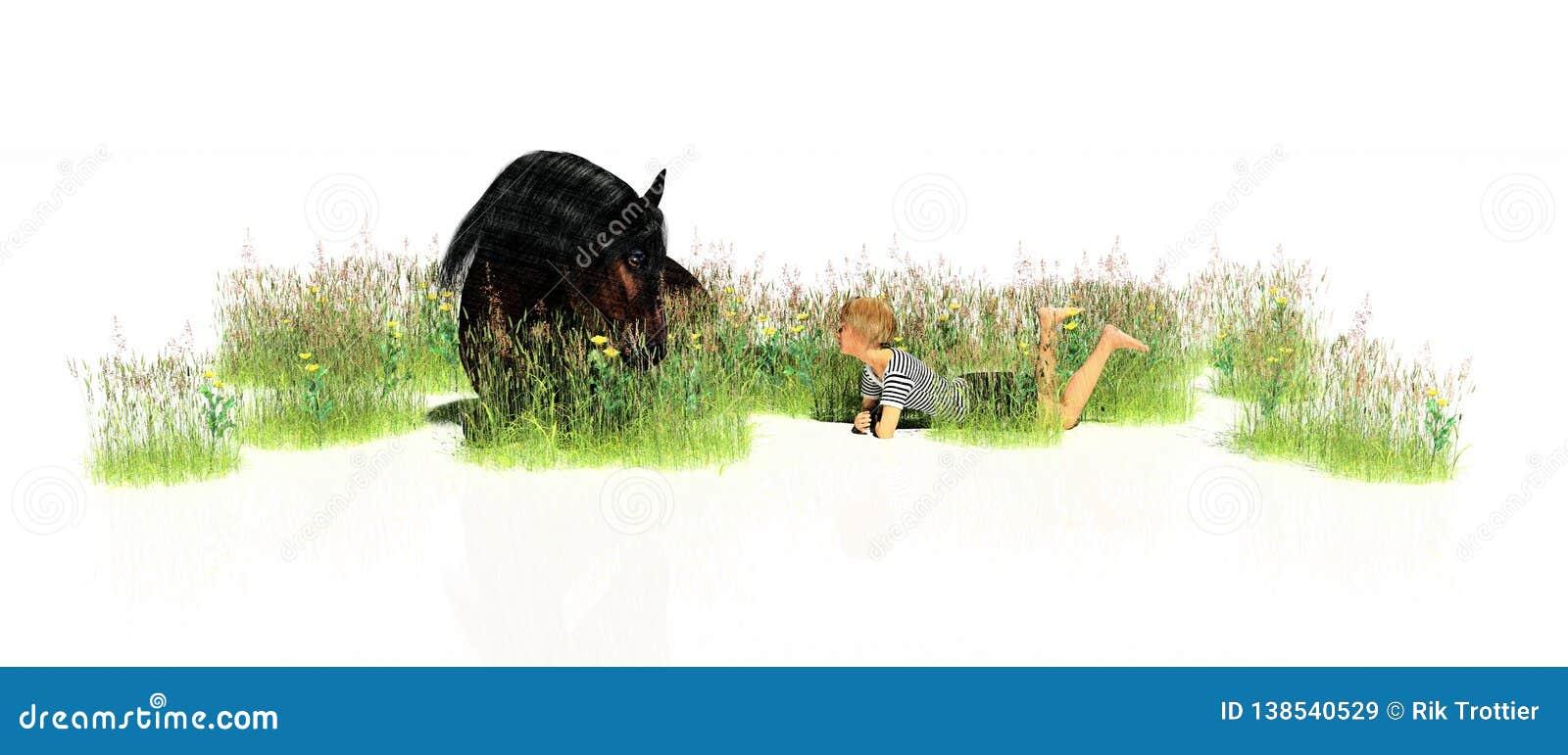 Cheval se couchant avec l enfant