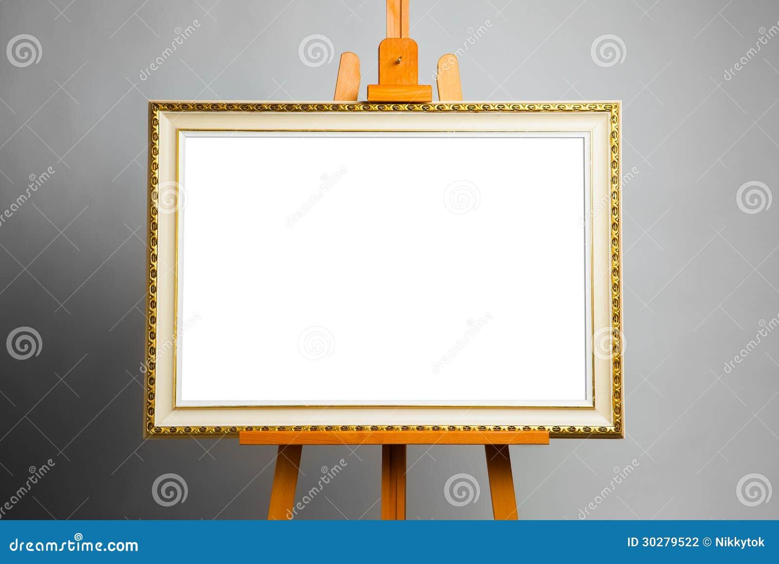 Chevalet Avec Le Cadre De Peinture Photo Stock Image Du Blanc