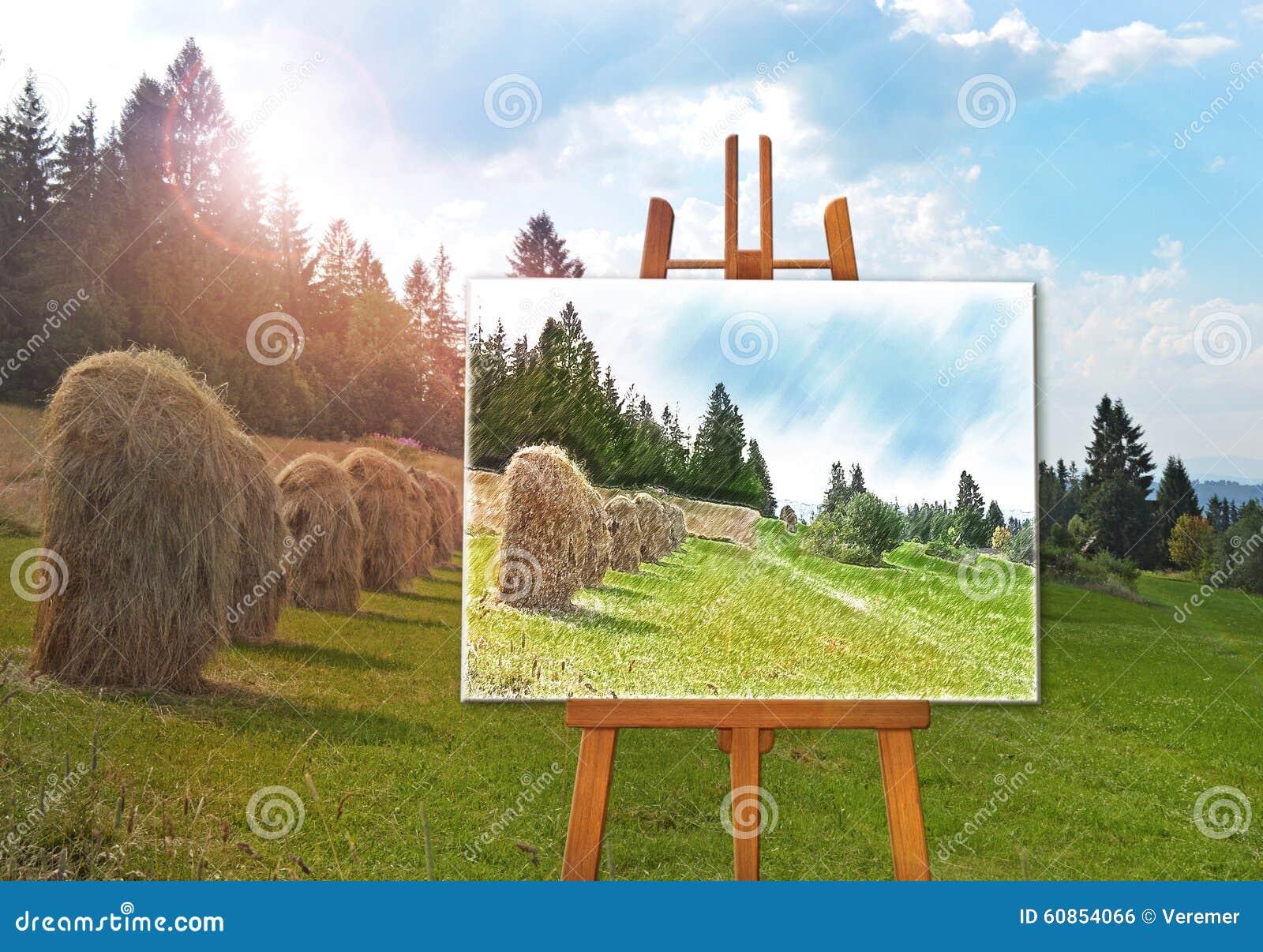 chevalet avec une photo de dessin sur la toile sur un paysage photo stock image 60854066. Black Bedroom Furniture Sets. Home Design Ideas