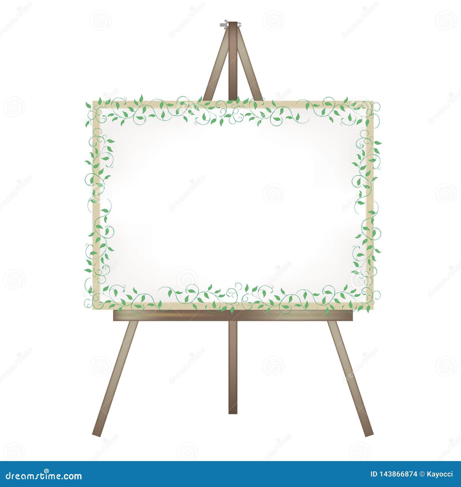 Chevalet de toile - décoration de lierre