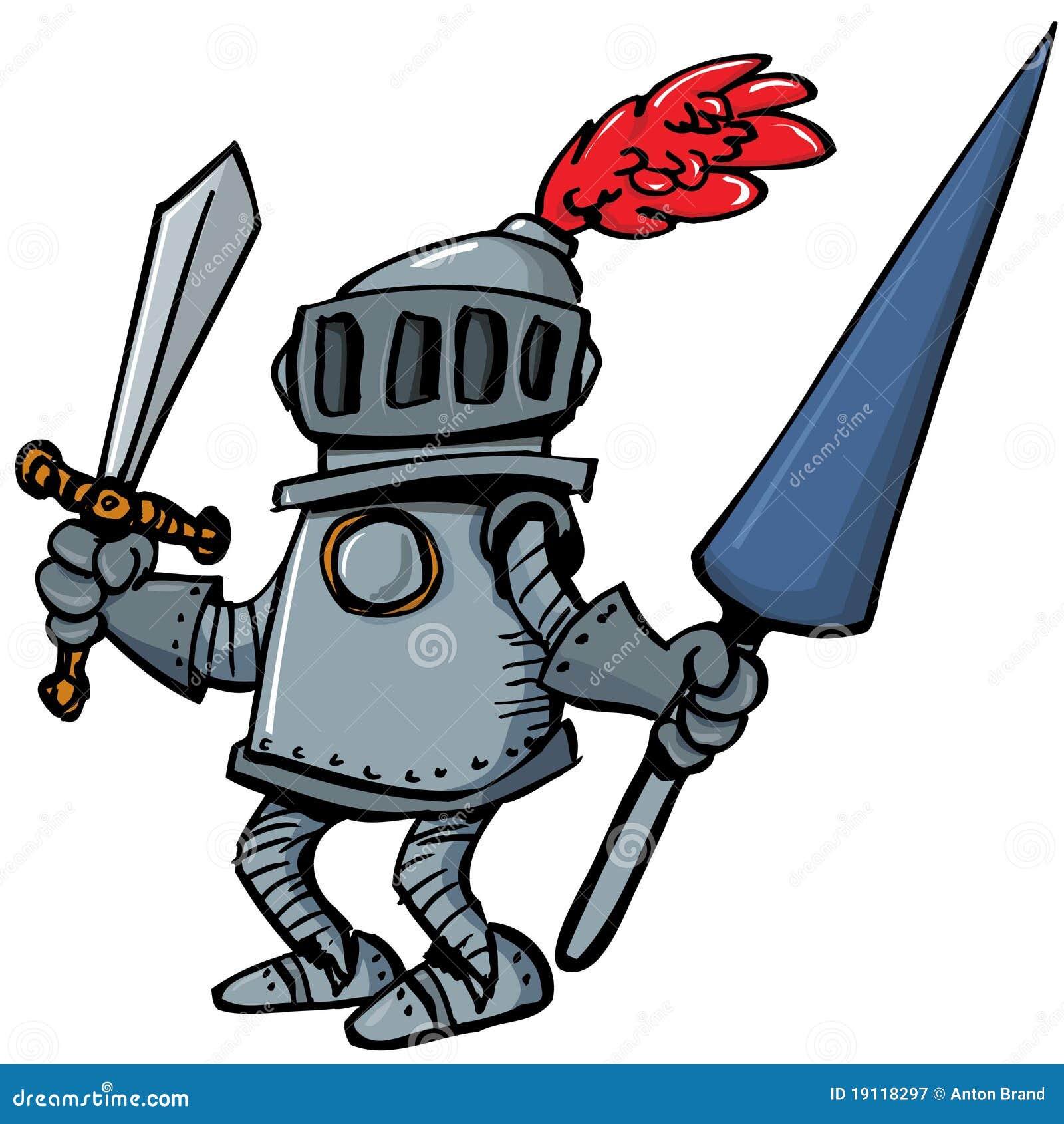 Chevalier de dessin anim dans l 39 armure avec une lance illustration de vecteur illustration du - Dessin armure ...