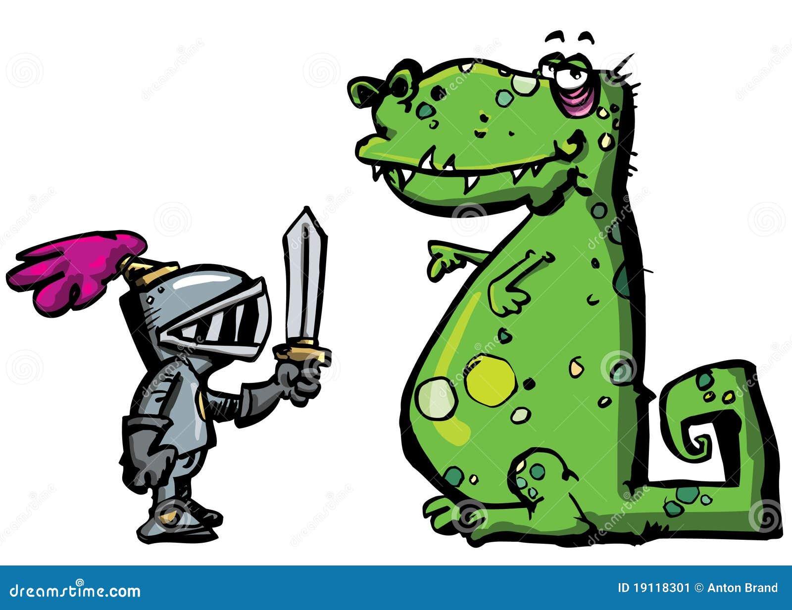 Chevalier de dessin anim dans l 39 armure faisant face un dragon image stock image 19118301 - Dessin armure ...