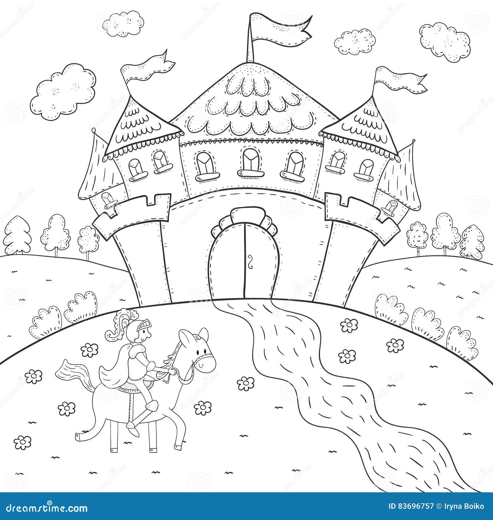 Coloriage Chateau Cheval.Chevalier De Livre De Coloriage A Cheval Et Conception Magique De