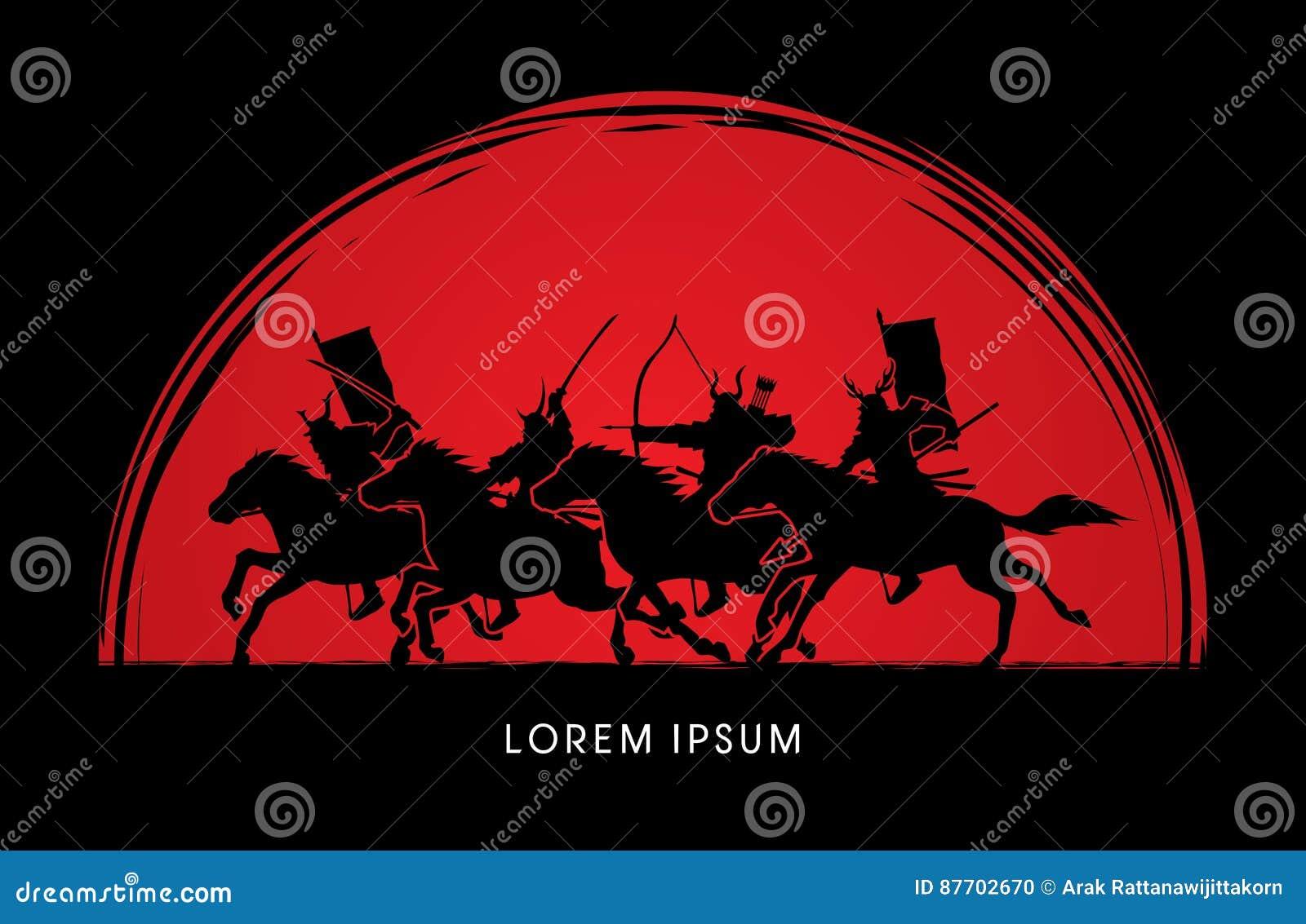 Chevaux d équitation samouraïs de guerriers