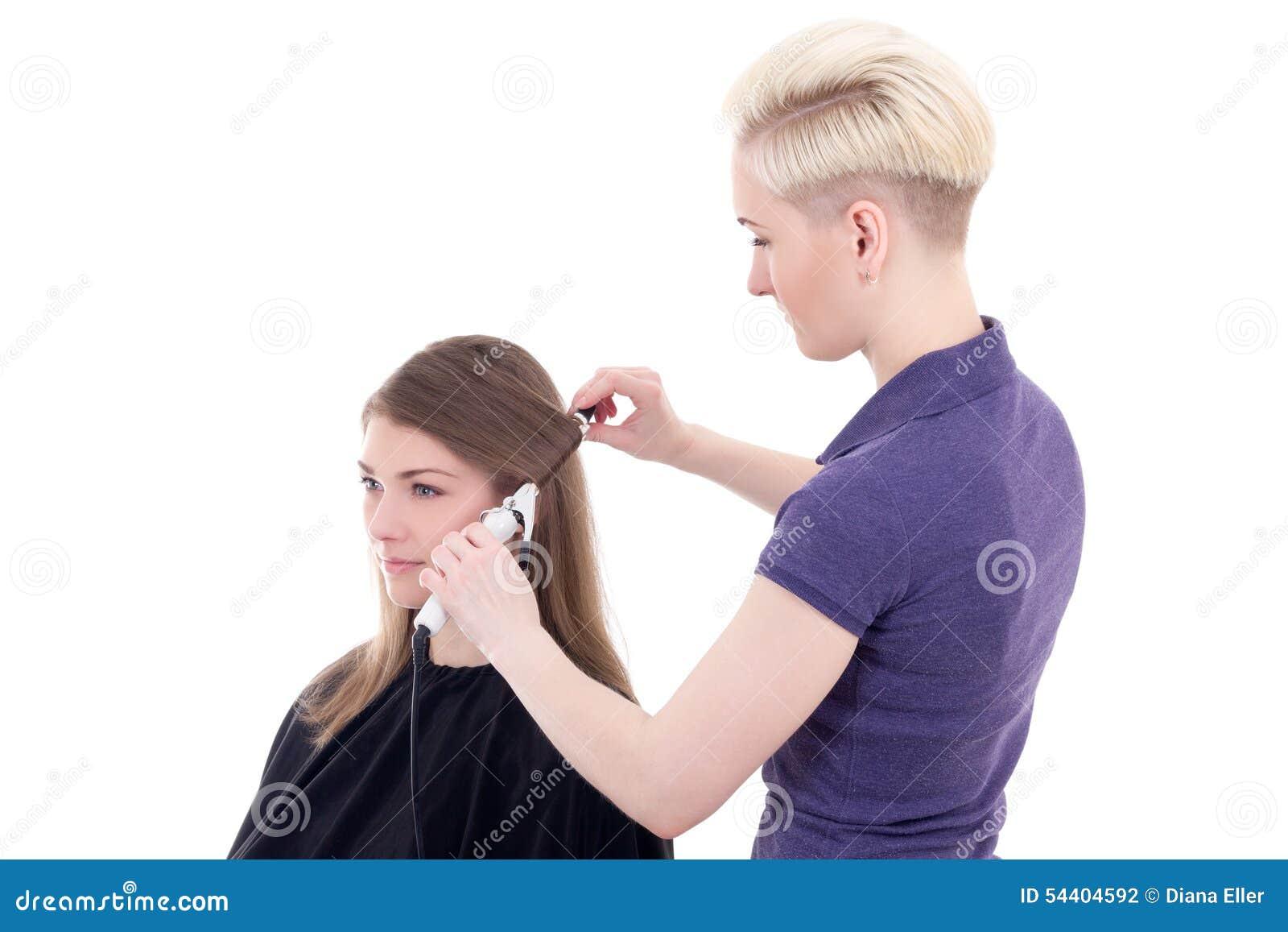 Cheveux De Bordage De Coiffeur Féminin Au Jeune Bel Isolat De ...