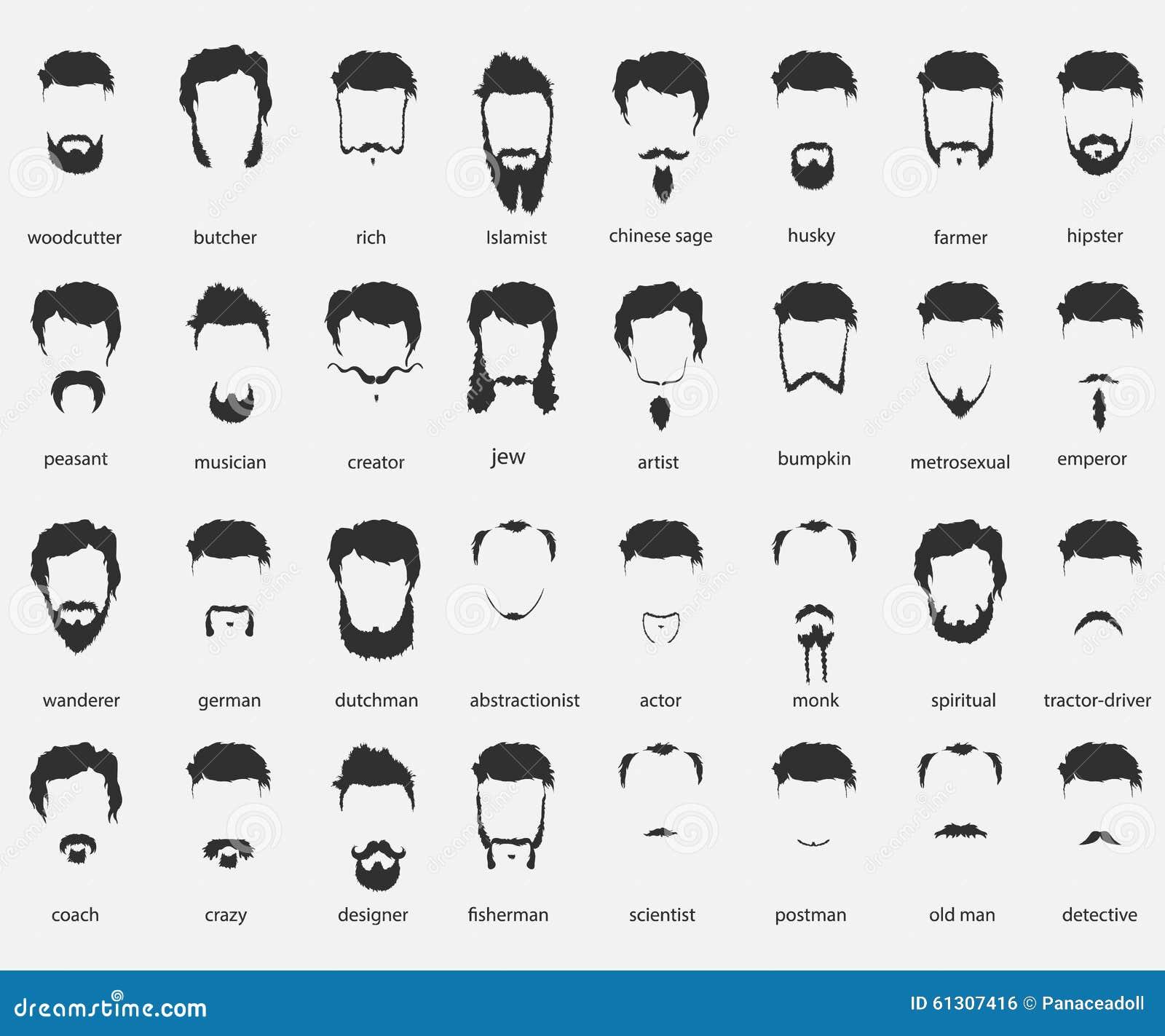 cheveux et barbes de diff rentes fois illustration de vecteur image 61307416. Black Bedroom Furniture Sets. Home Design Ideas