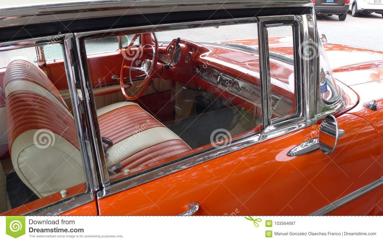 1957 Chevrolet Bel Air Interior Parked In Lima Editorial