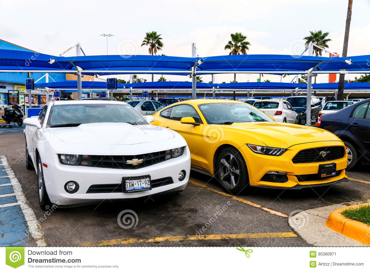 Chevrolet Camaro And Ford Mustang Editorial Photo Image Of Bonnet Ford 95360971