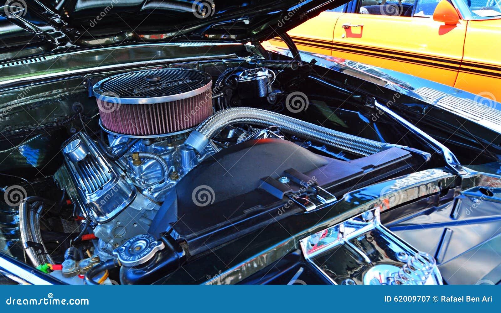 Chevrolet Camero SS motor i en offentlig för muskelbil för USA klassisk sho