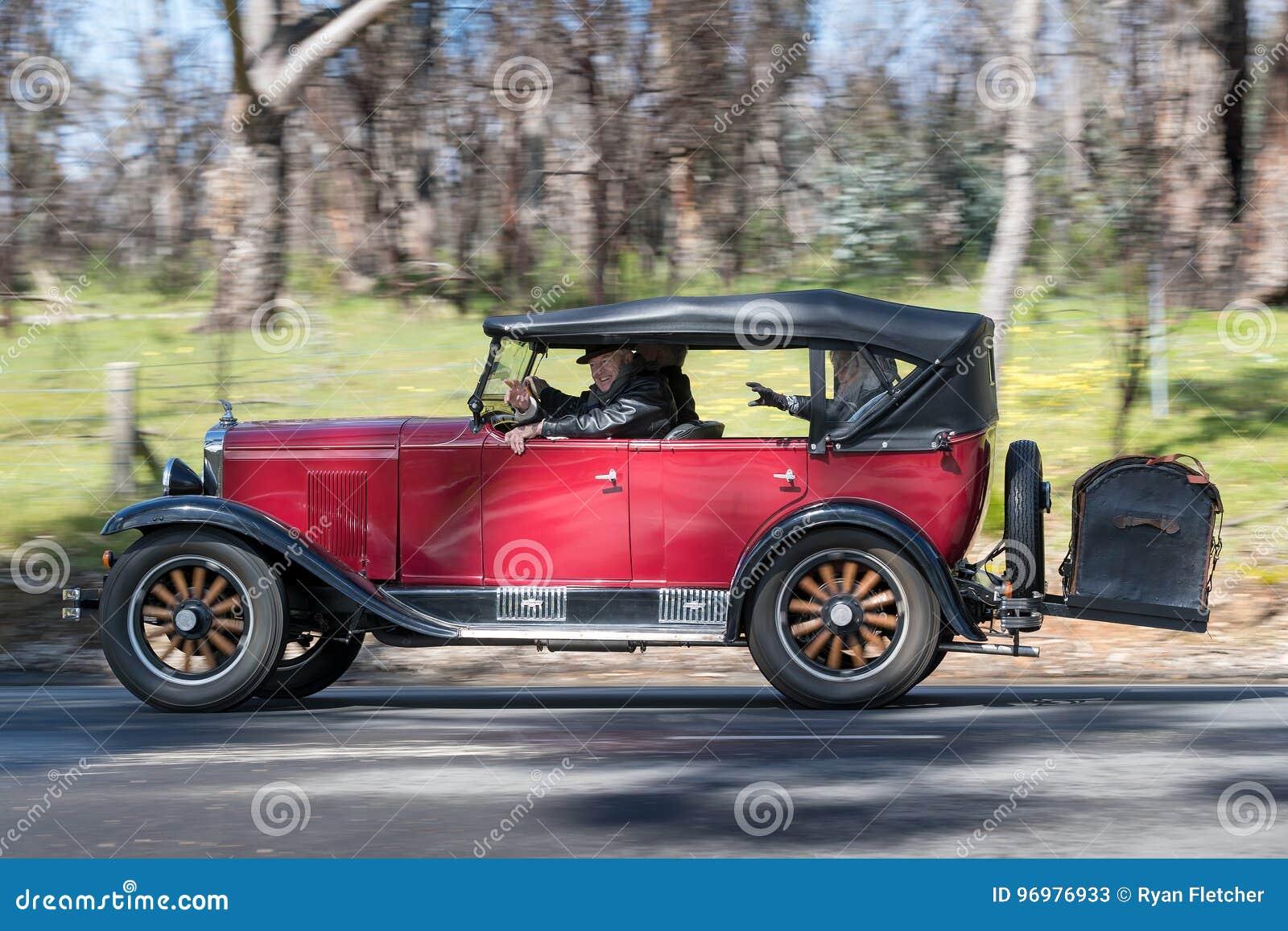 1929 Chevrolet Tourer Sedan Driving On Country Road Editorial Stock ...