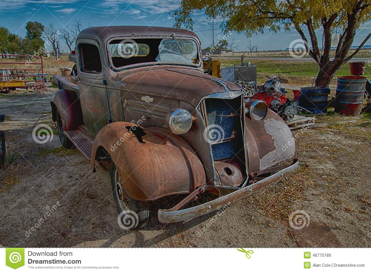 1937 Chevrolet Truck Salvage Yard Editorial Stock Image