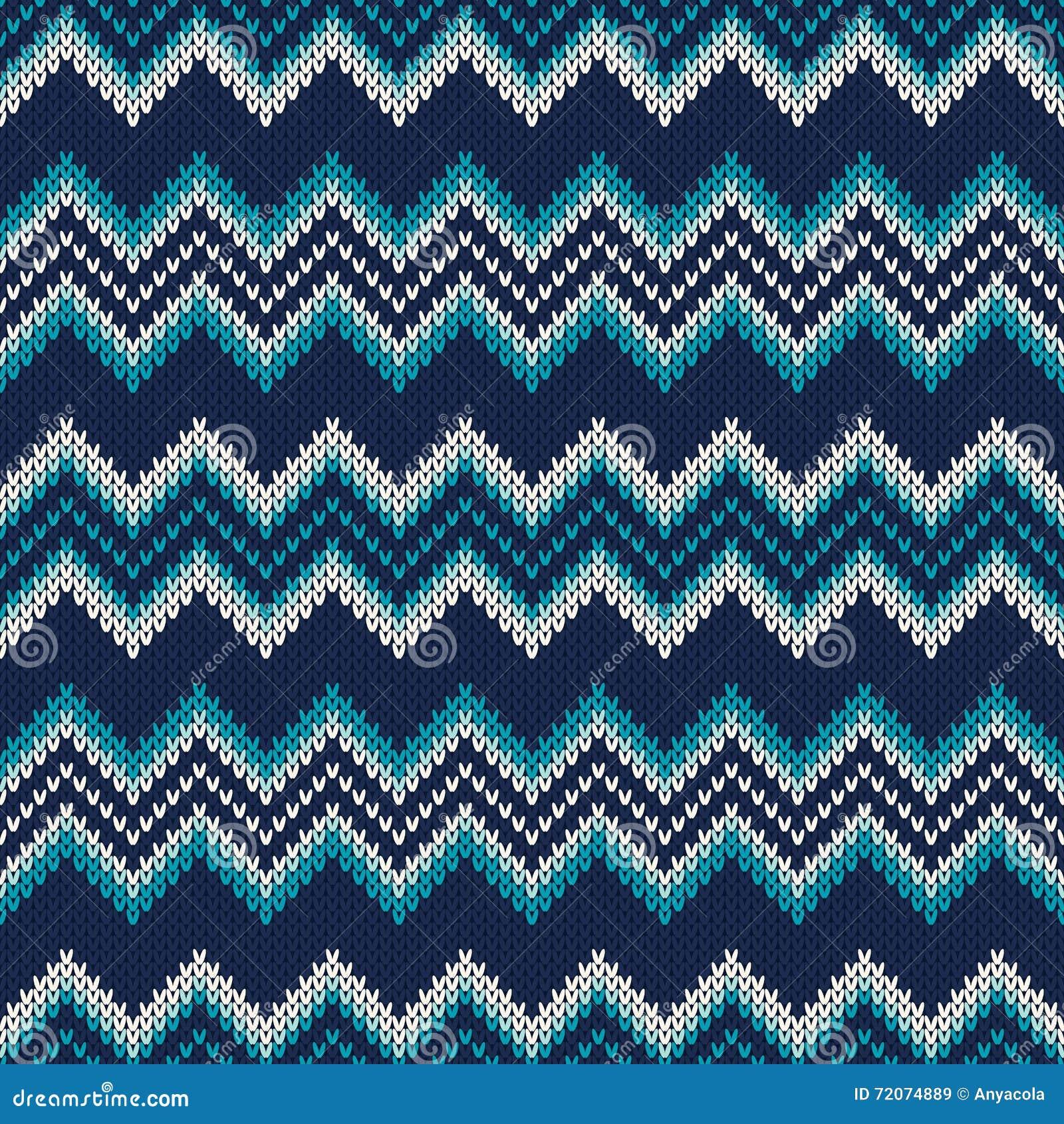 Chevron Knitted Pattern. Fair Isle Style Knitting Sweater Design ...