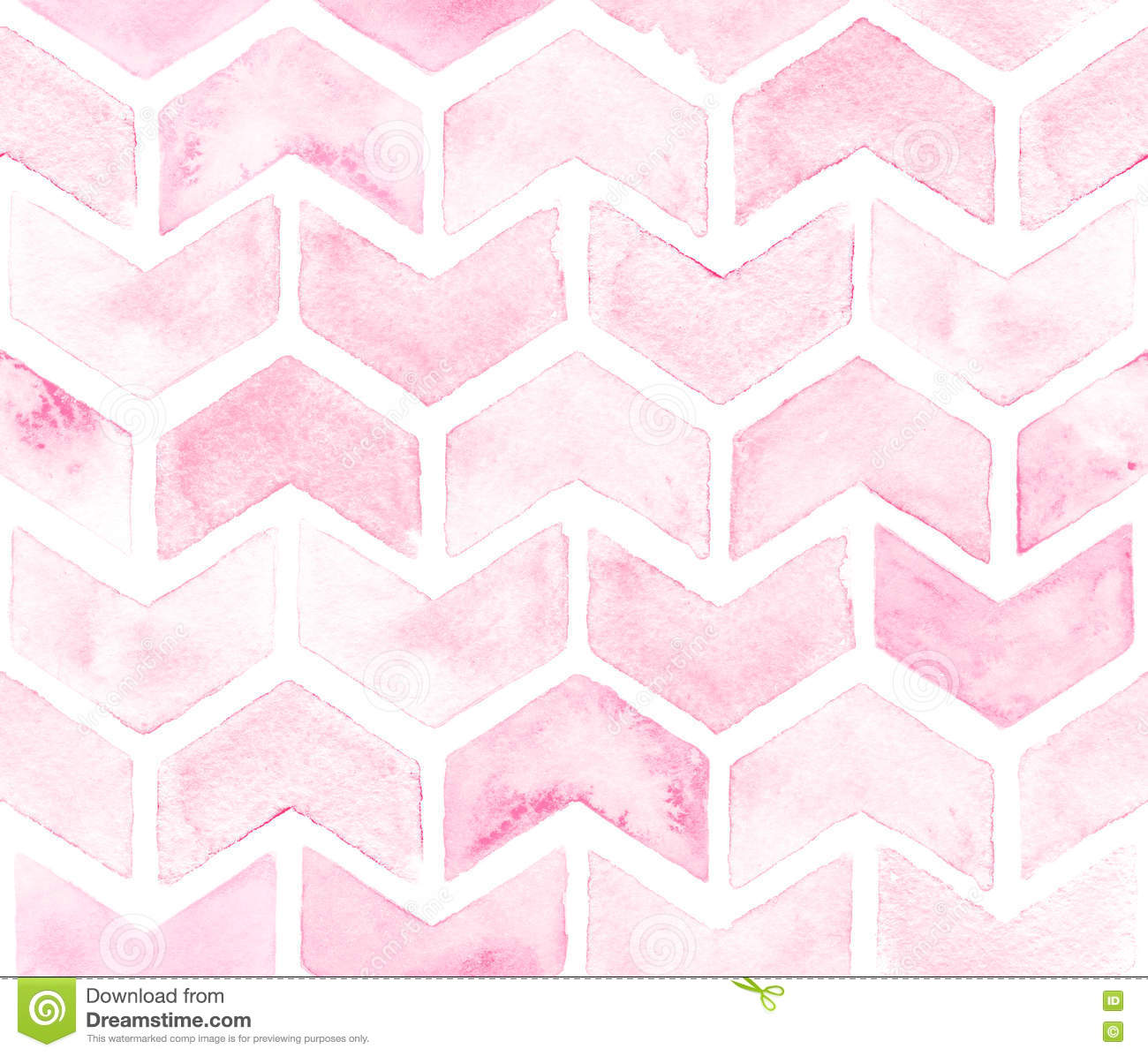 Chevron of light pink color on white background. Watercolor seamless pattern for fabric