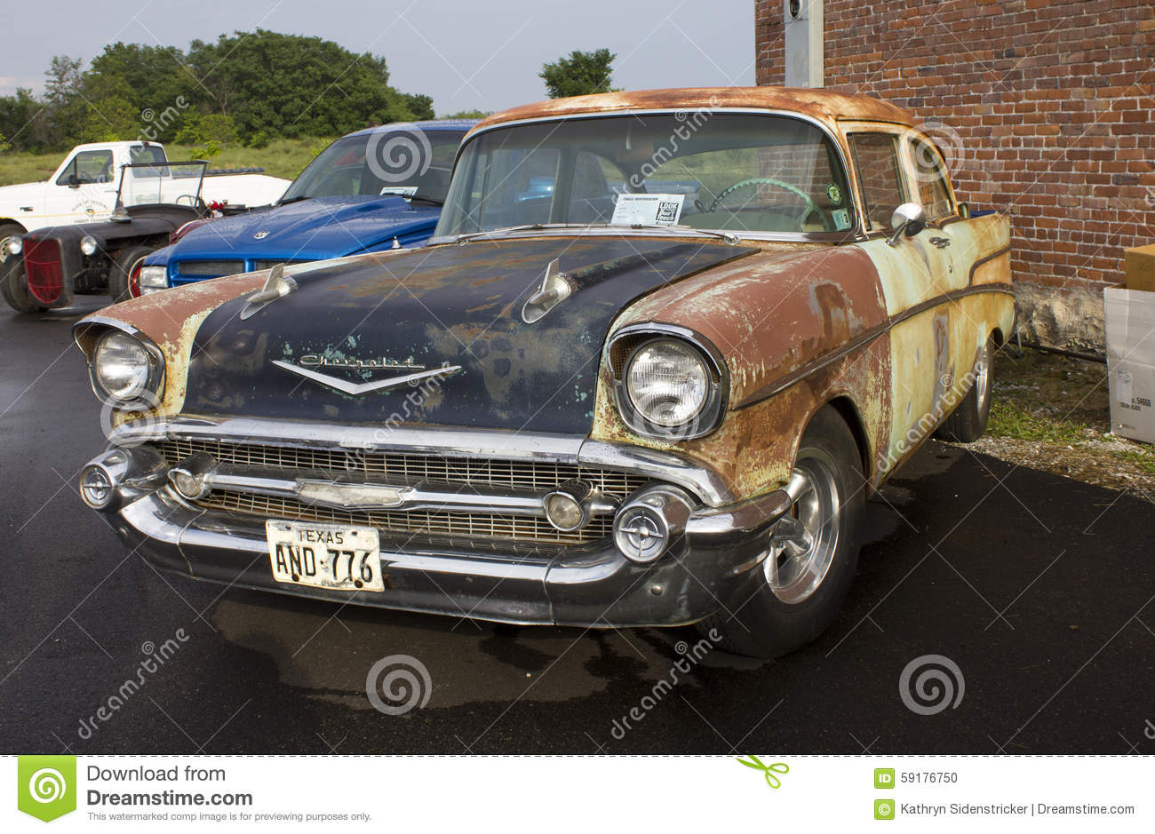 Chevy Two Door Sedan Chevrolet Post Original Paint Patina Large Front Bumper Chrome Grille Parked Local Cruise Night