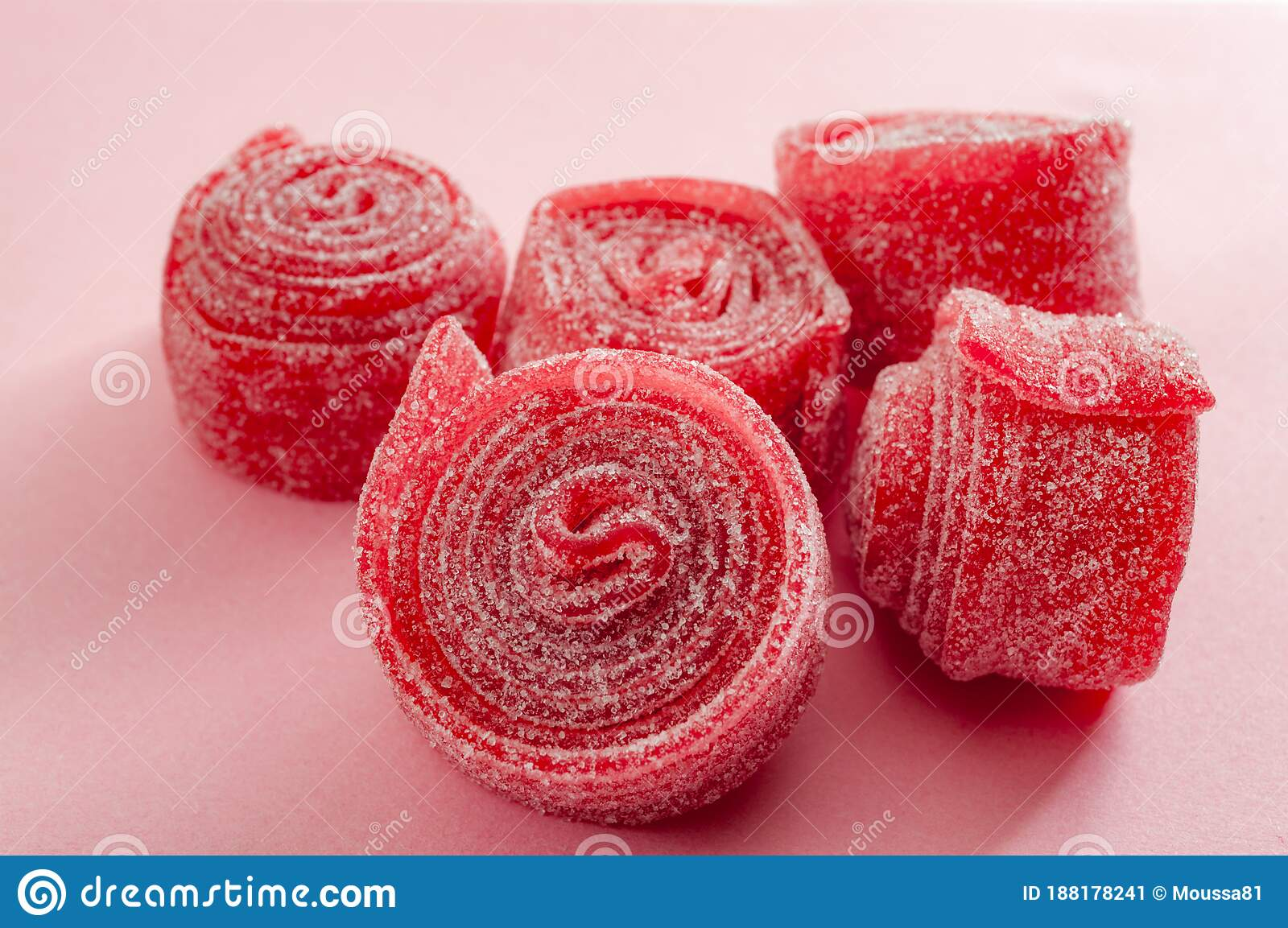 Chewy Sweets And Strawberry And Cherry Flavoured Gummy Candy Concept With Close Up On Sweet And Sour Red Sour Belts Covered In Stock Image Image Of Belts Rolls 188178241