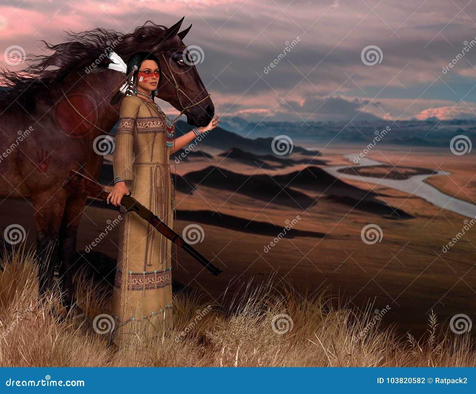 Cheyenne American Indian Woman Illustration