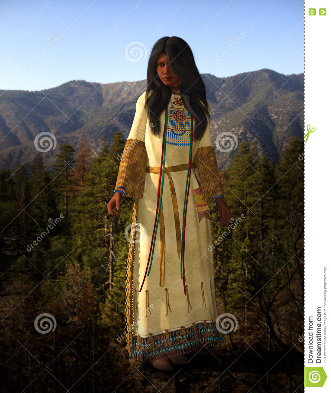 Cheyenne American Indian Woman Illustration