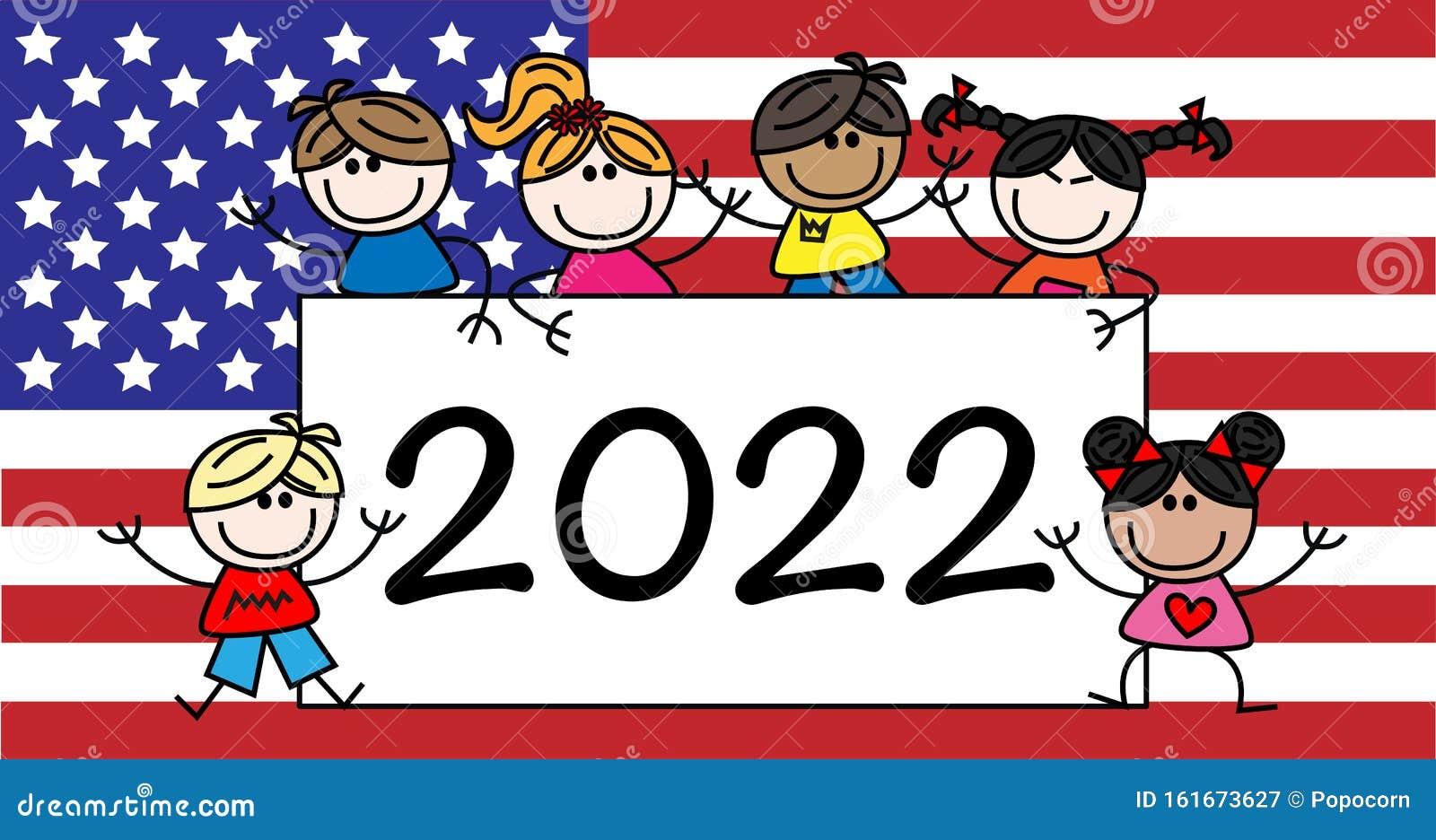 Kids Calendar 2022.New Year 2022 Calendar Mixed Ethnic Kids Stock Vector Illustration Of Banners Event 161673627